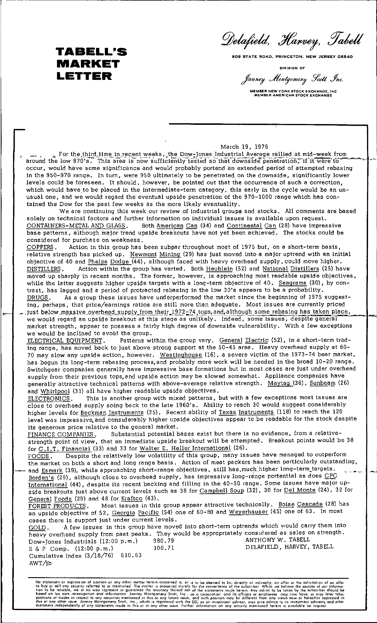Tabell's Market Letter - March 19, 1976