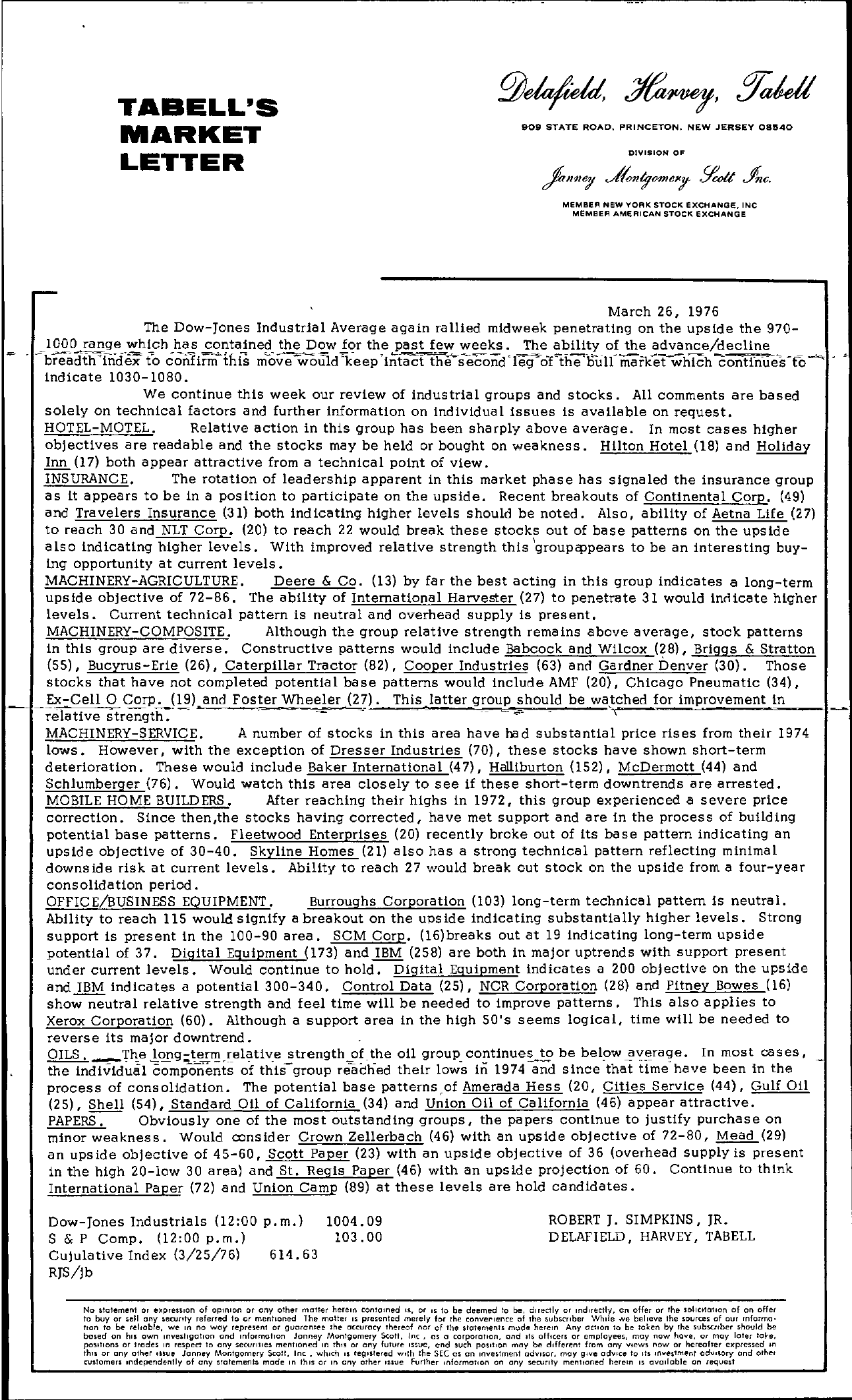 Tabell's Market Letter - March 26, 1976
