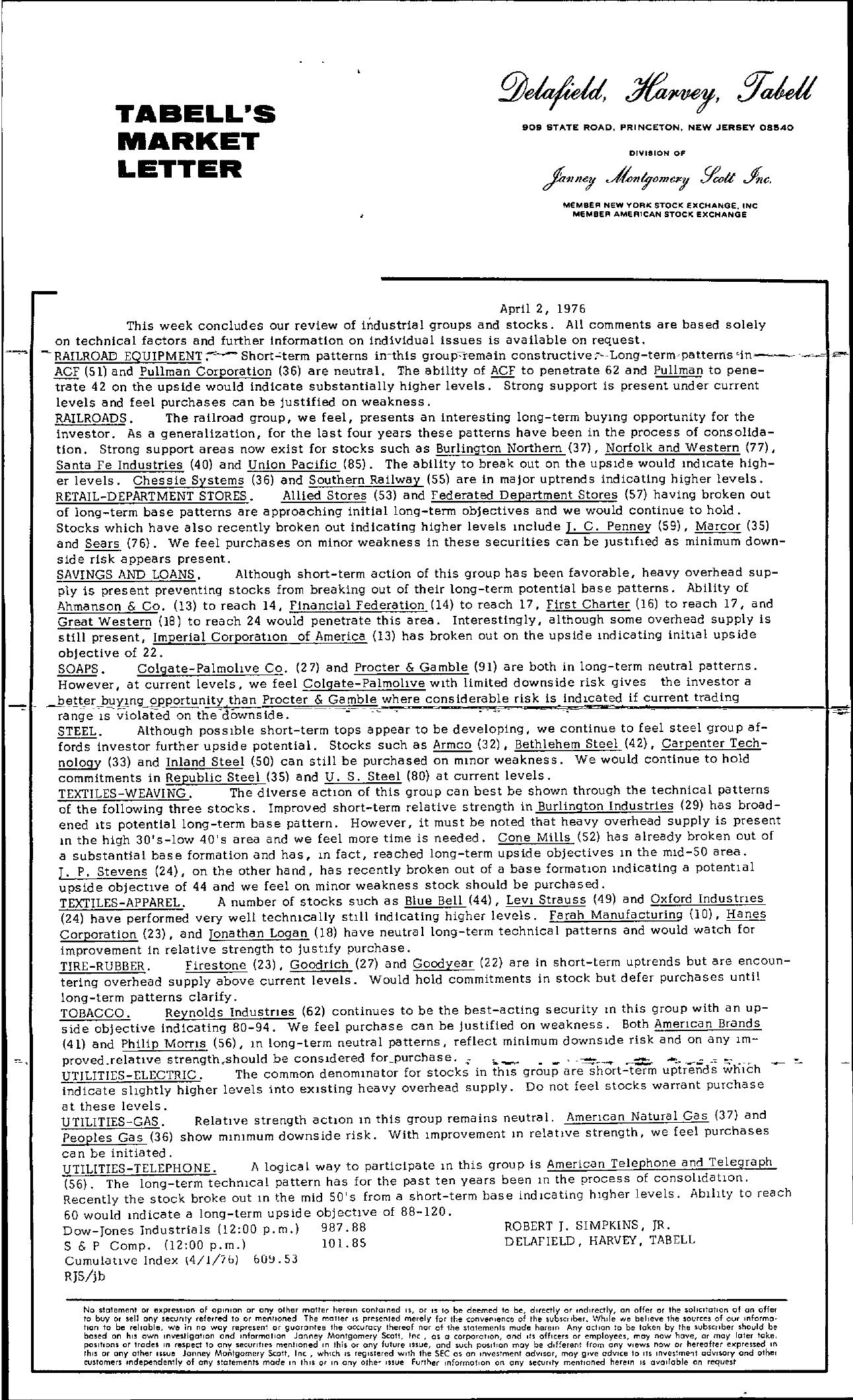Tabell's Market Letter - April 02, 1976