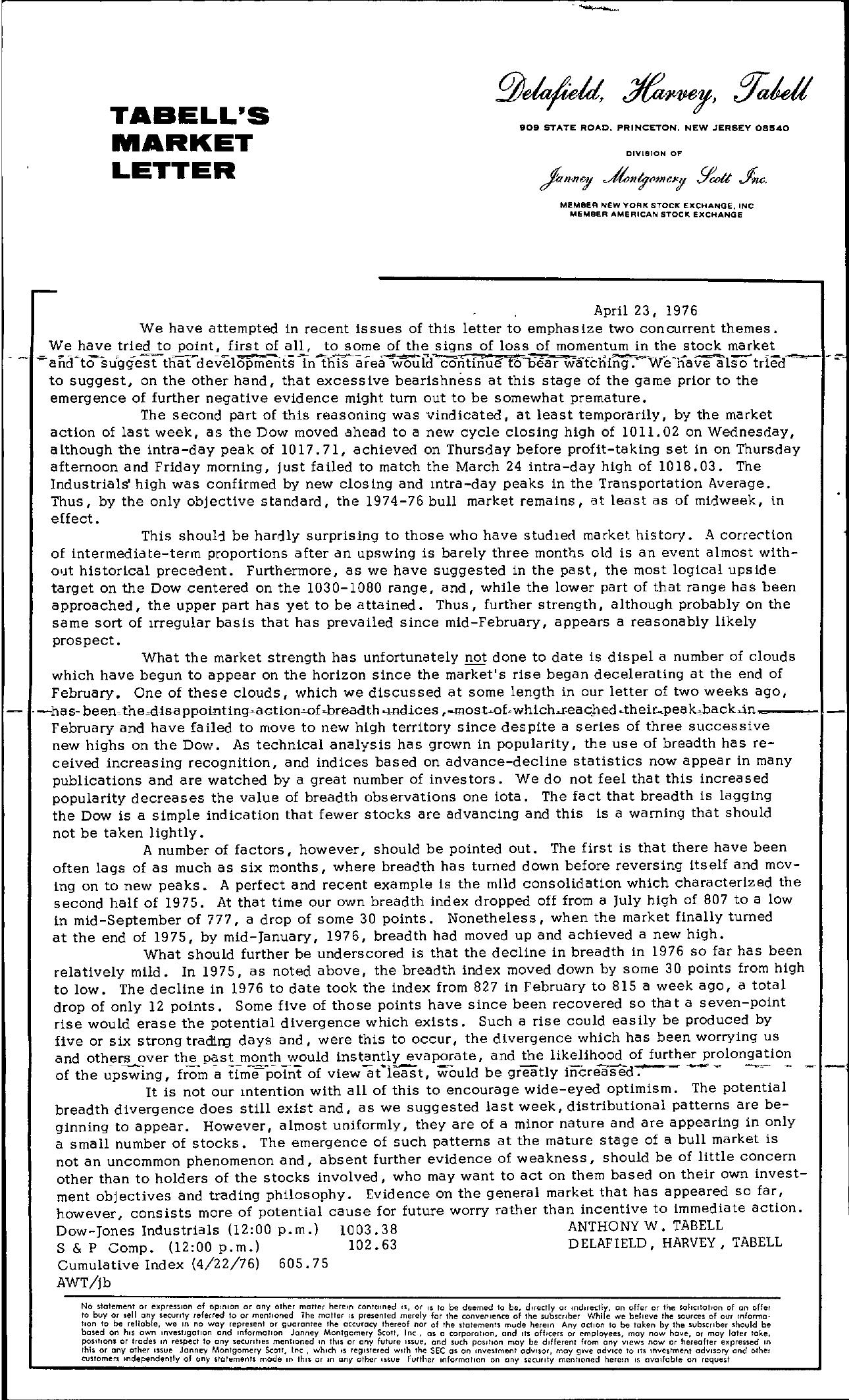 Tabell's Market Letter - April 23, 1976