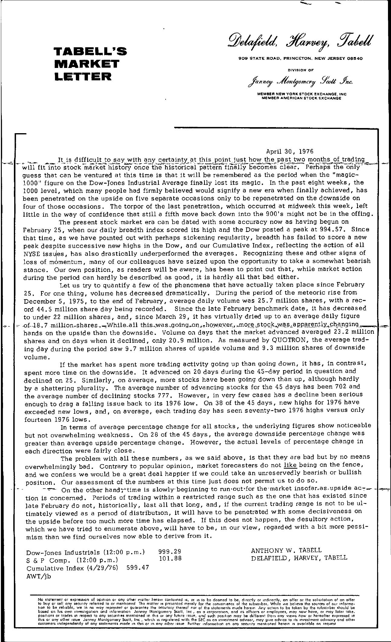 Tabell's Market Letter - April 30, 1976