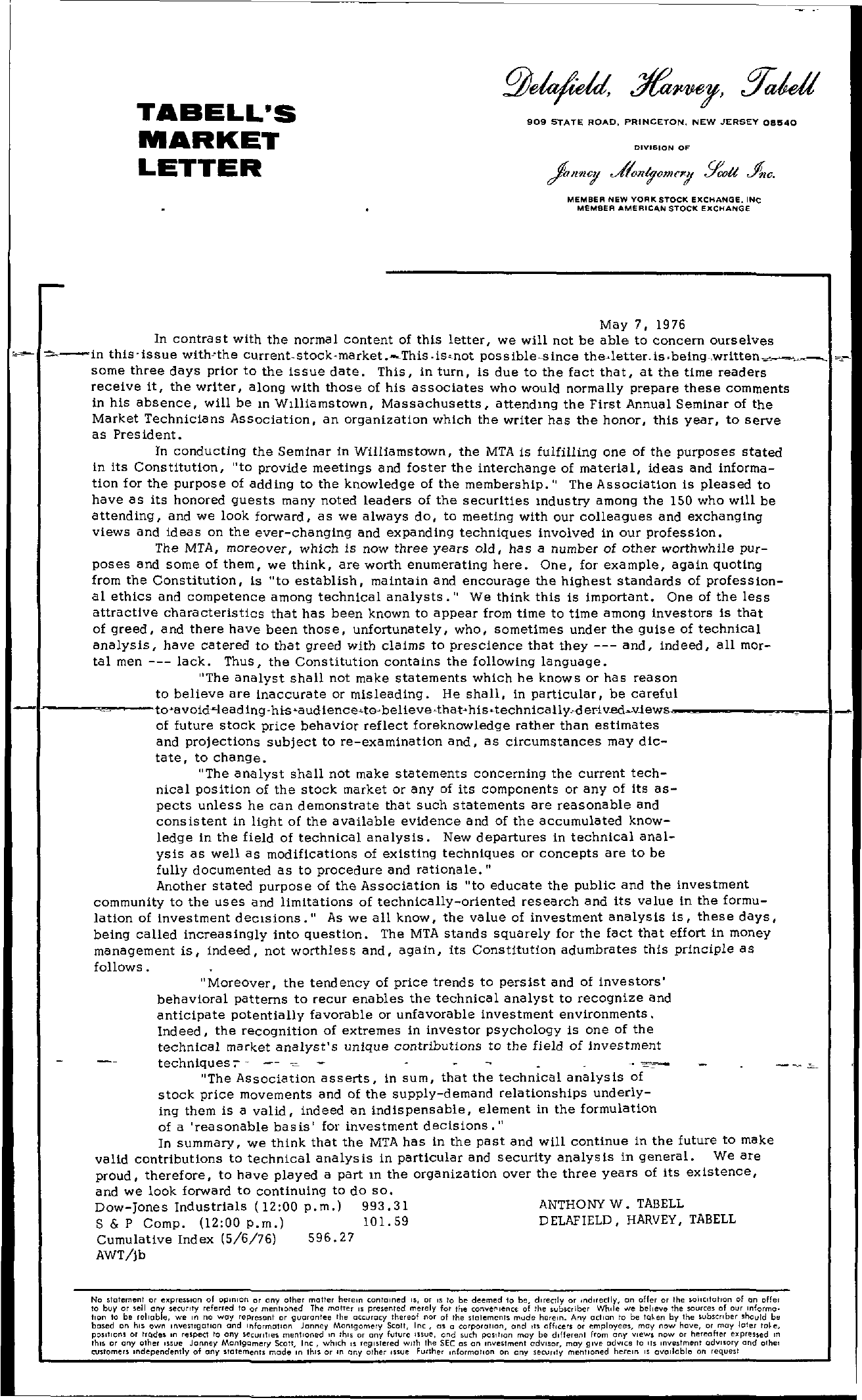 Tabell's Market Letter - May 07, 1976