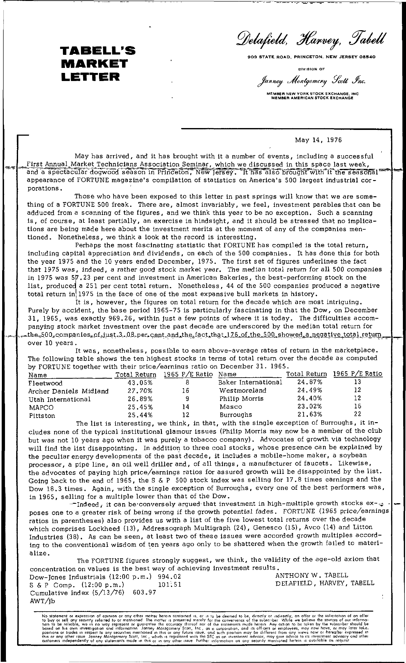 Tabell's Market Letter - May 14, 1976