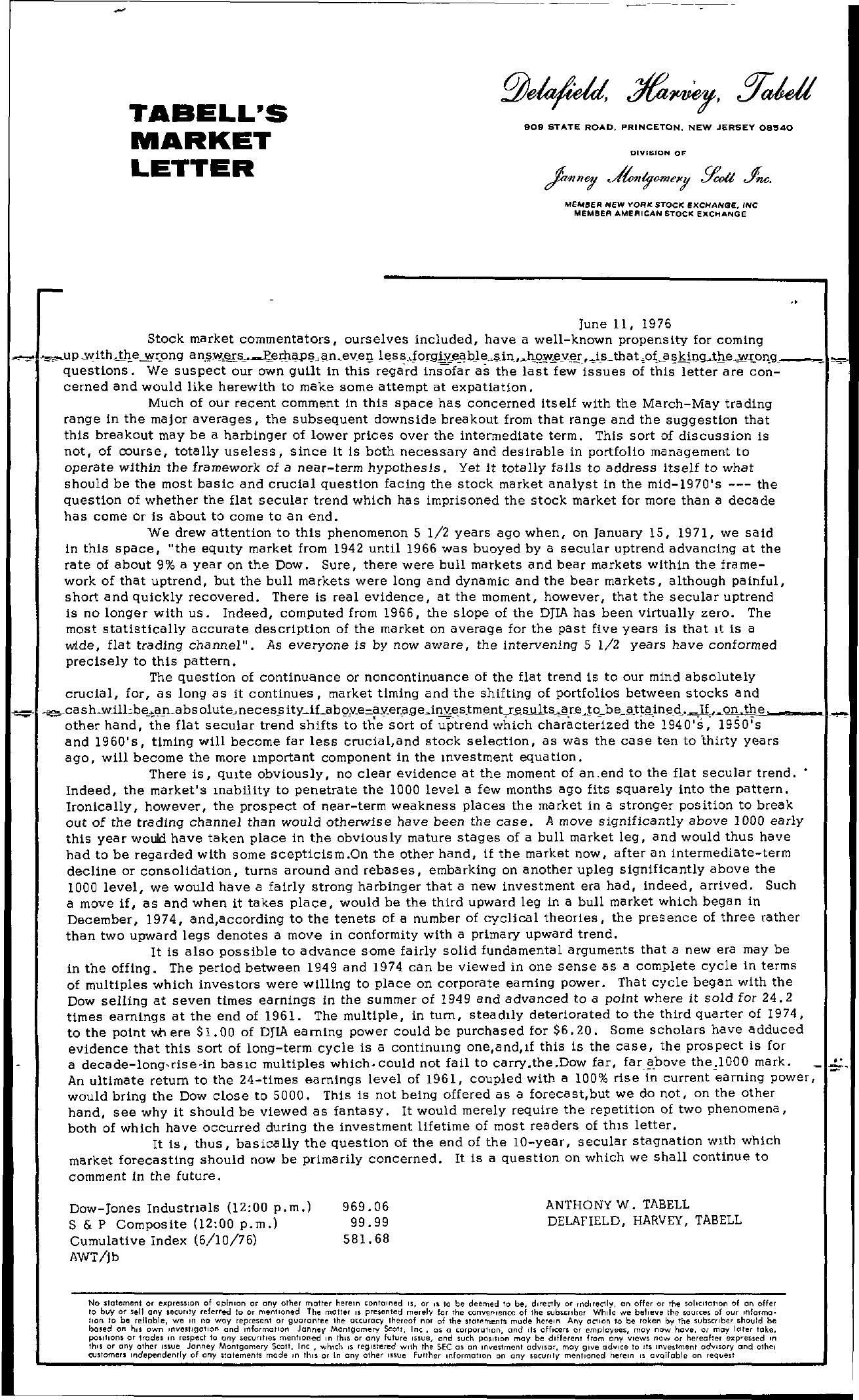 Tabell's Market Letter - June 11, 1976