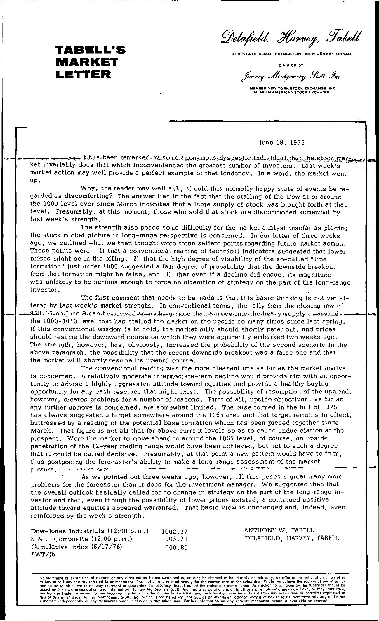 Tabell's Market Letter - June 18, 1976