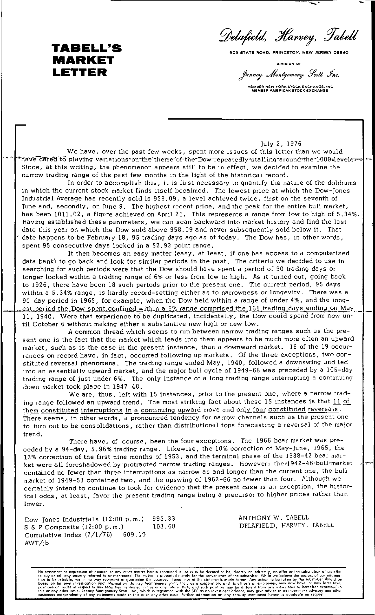 Tabell's Market Letter - July 02, 1976