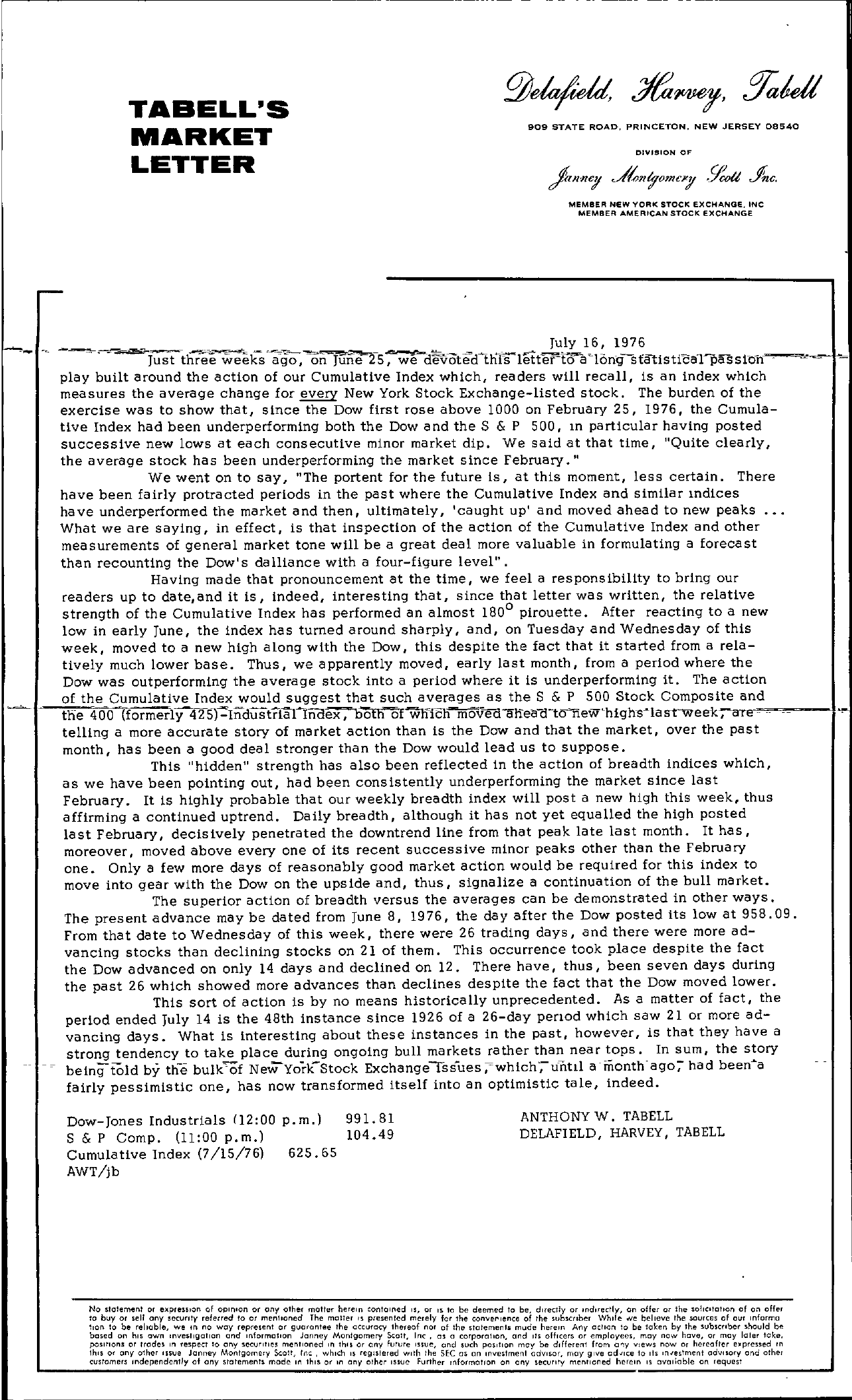 Tabell's Market Letter - July 16, 1976