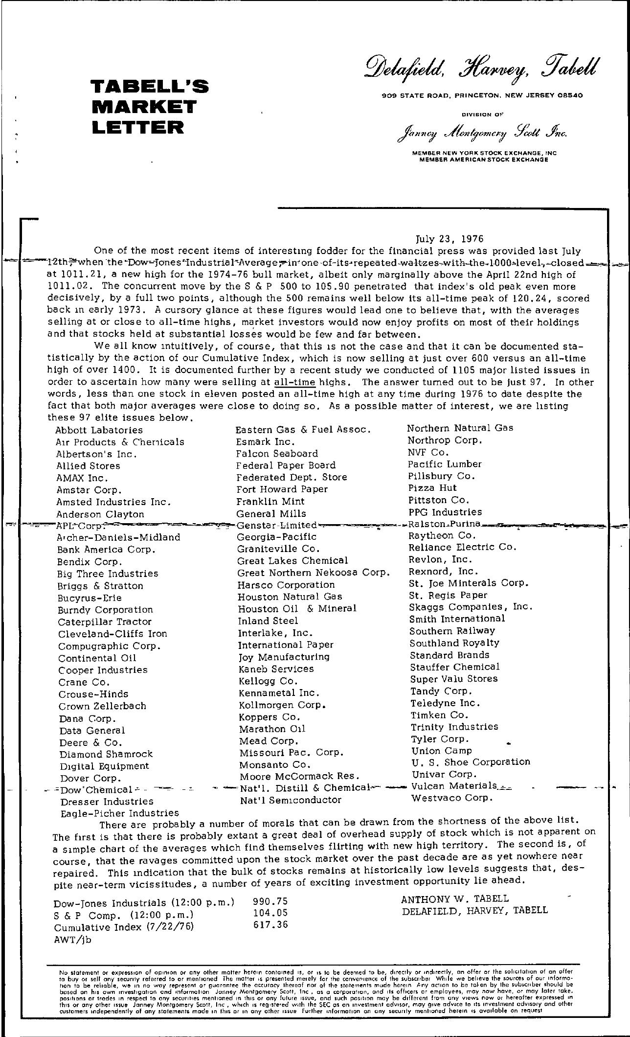 Tabell's Market Letter - July 23, 1976