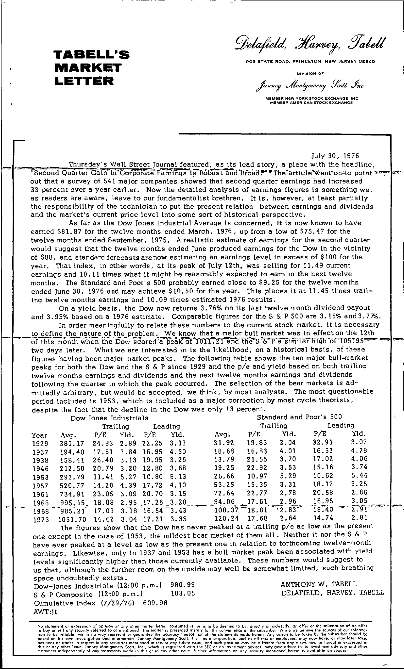 Tabell's Market Letter - July 30, 1976