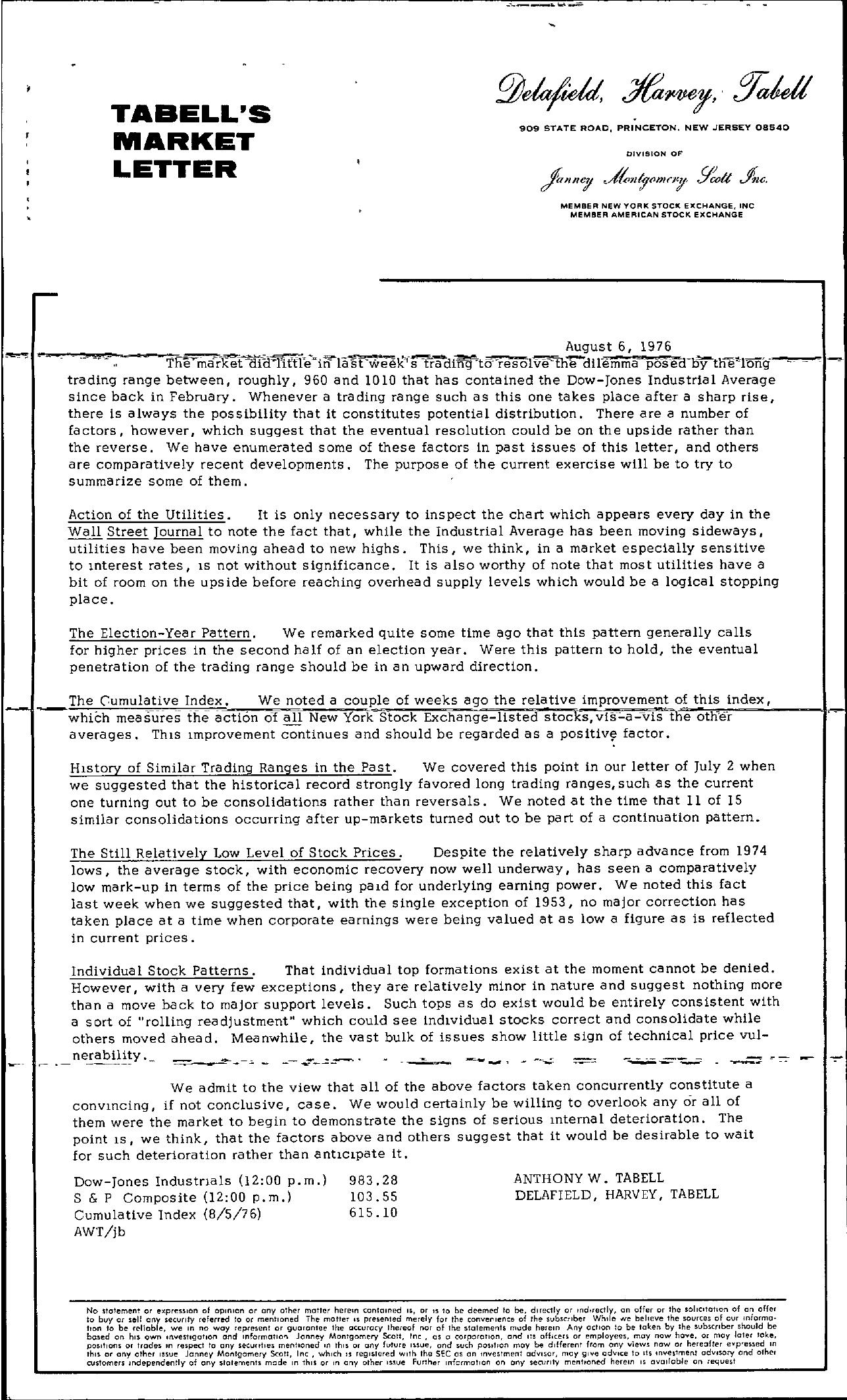 Tabell's Market Letter - August 06, 1976