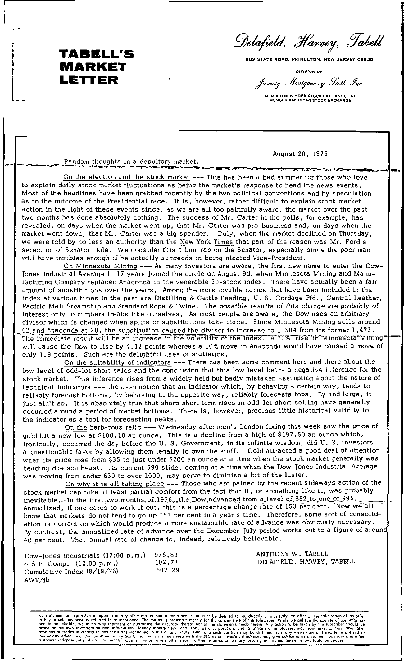 Tabell's Market Letter - August 20, 1976