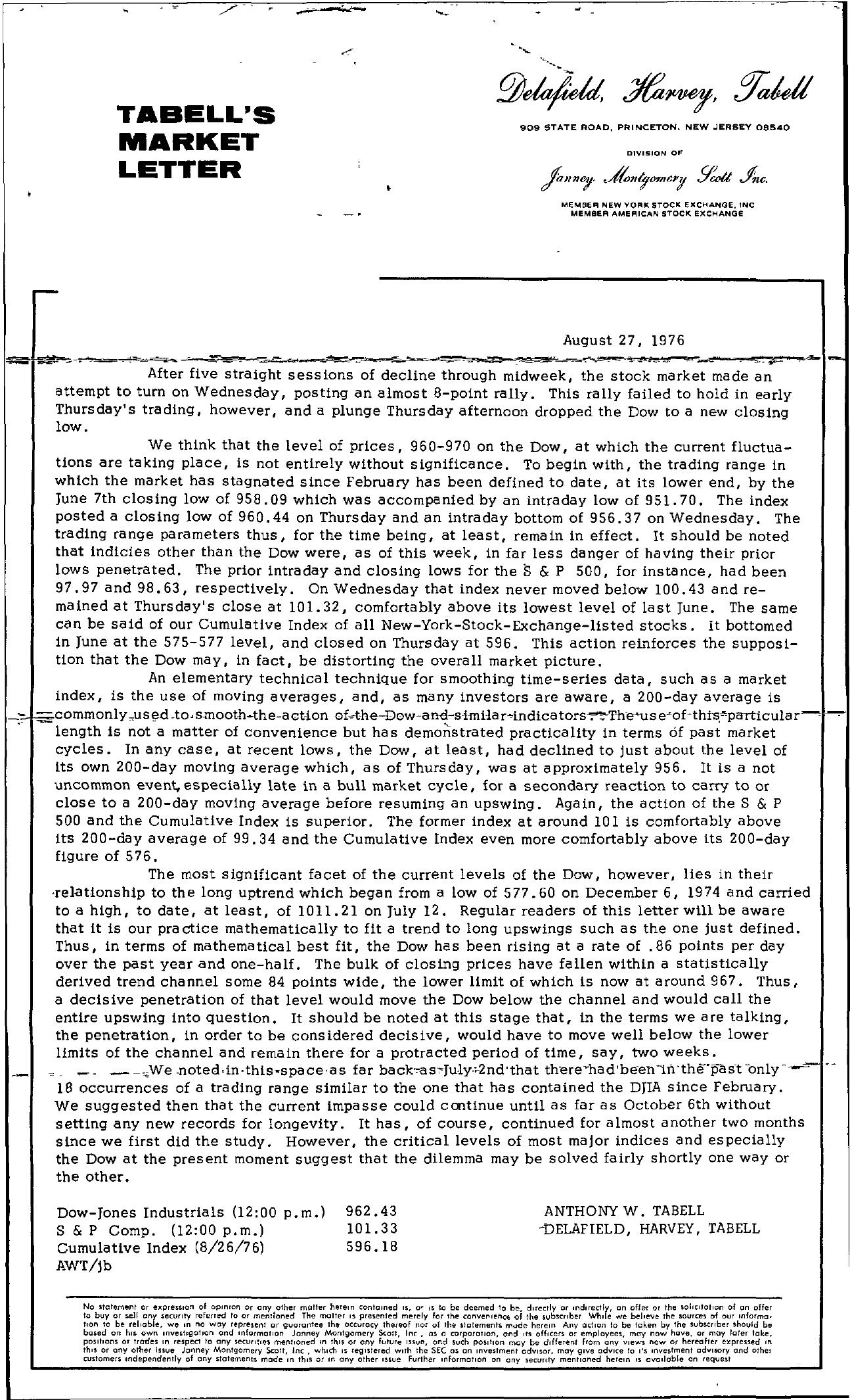Tabell's Market Letter - August 27, 1976