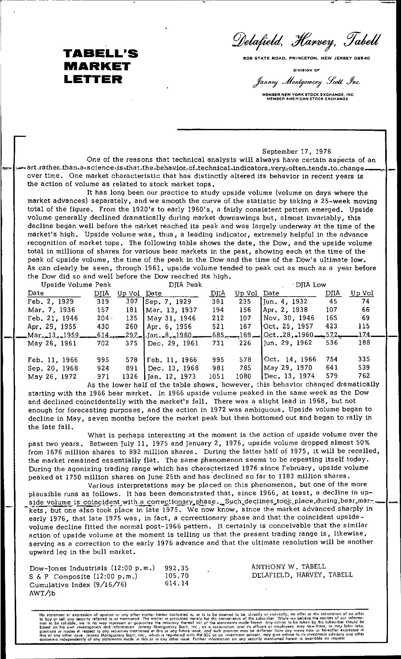 Tabell's Market Letter - September 17, 1976