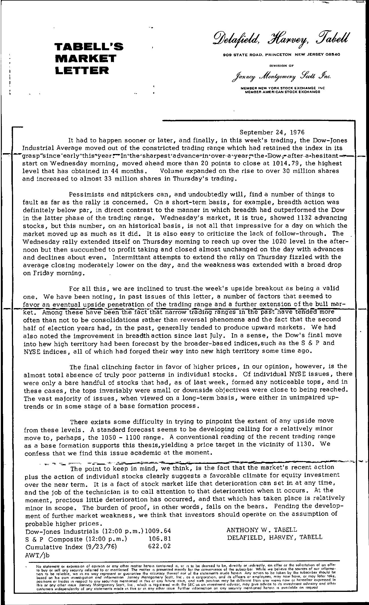 Tabell's Market Letter - September 24, 1976