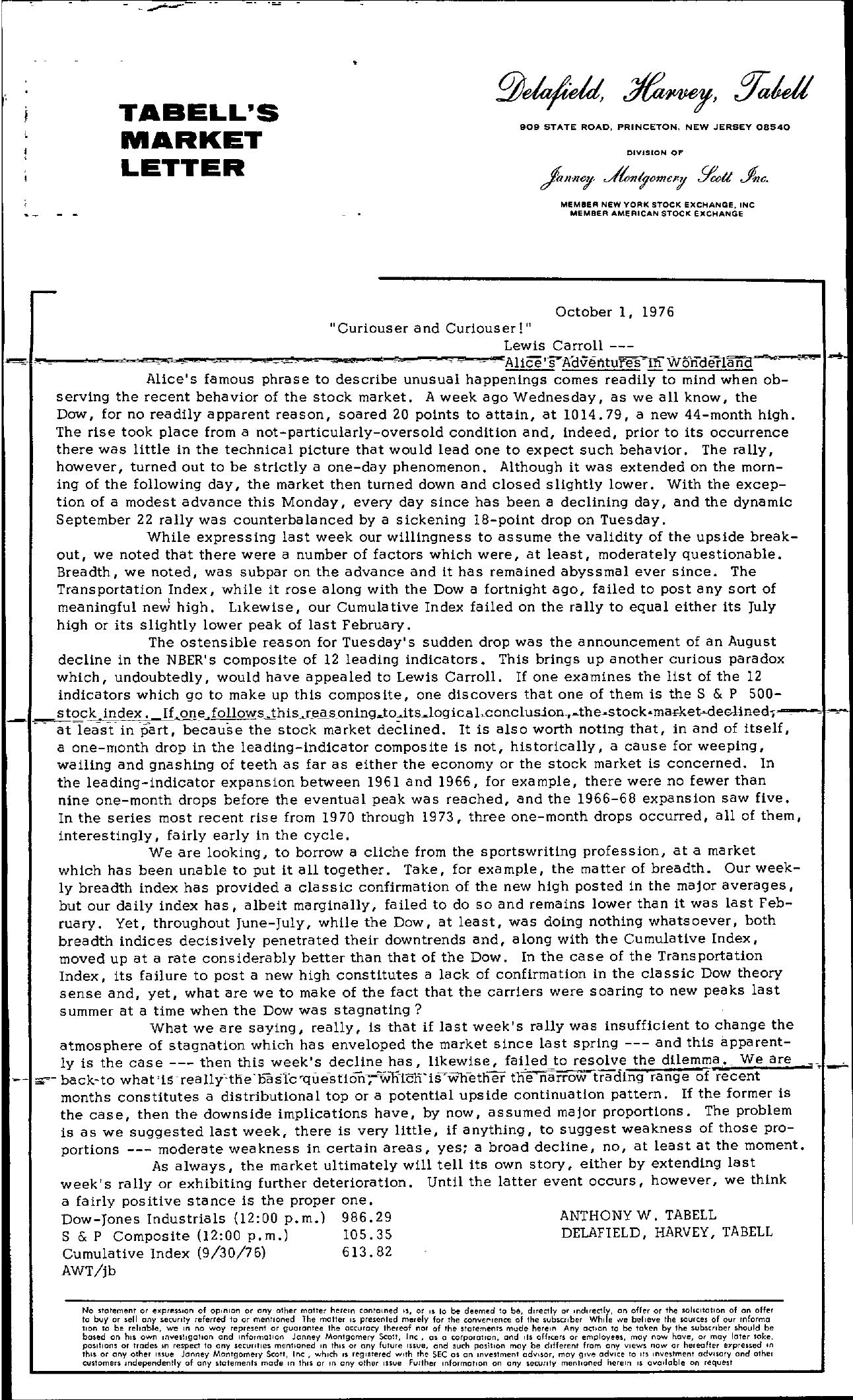 Tabell's Market Letter - October 01, 1976