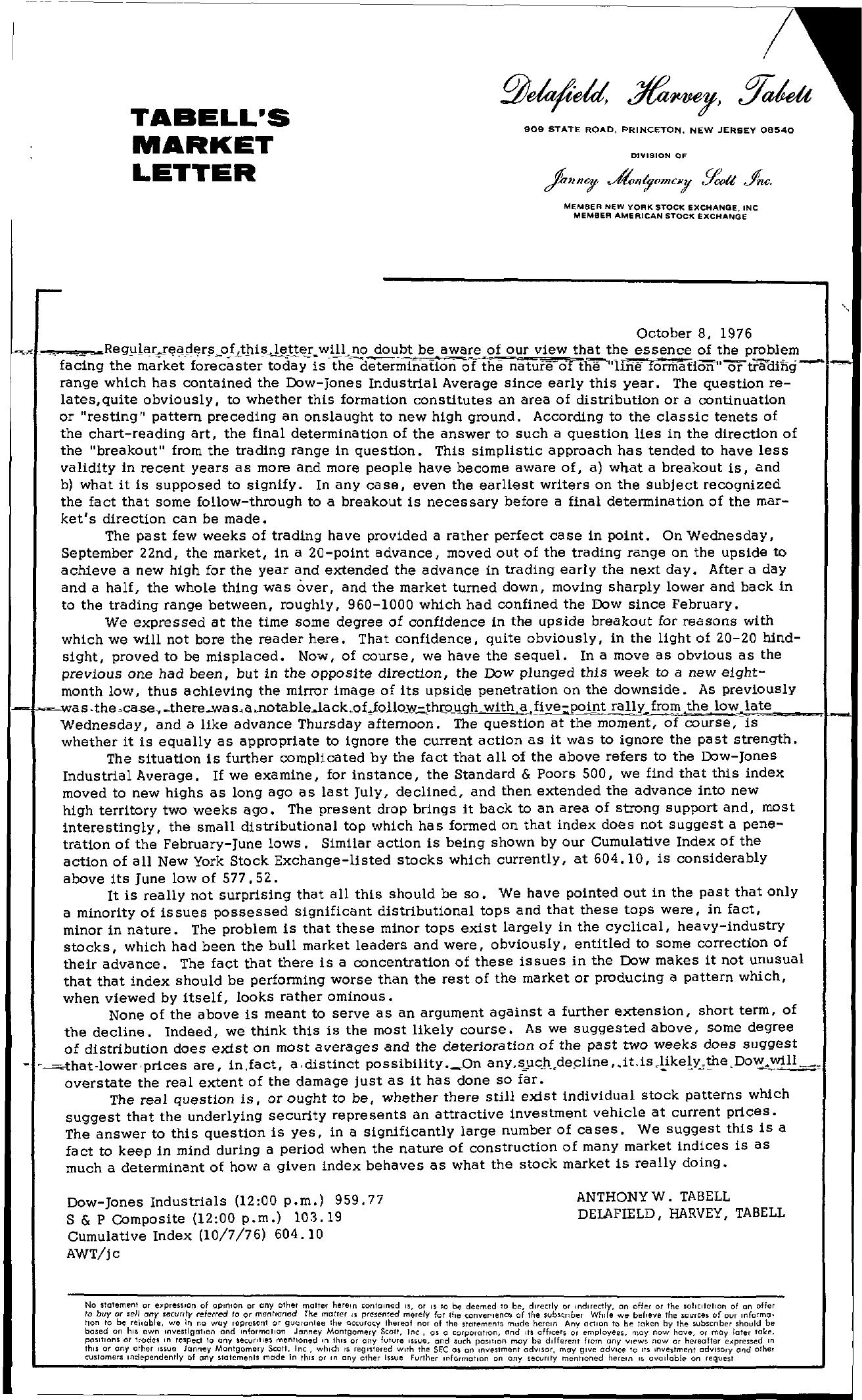 Tabell's Market Letter - October 08, 1976