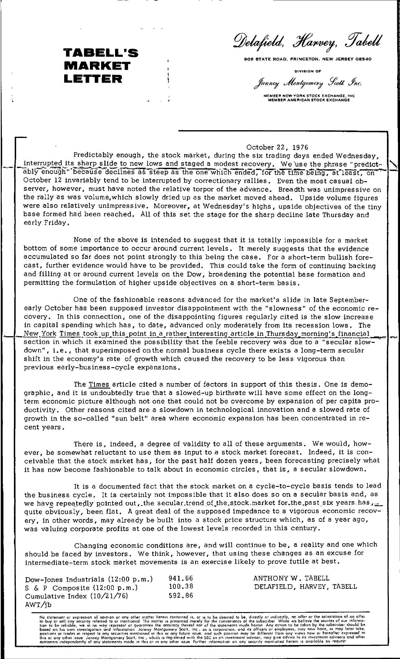 Tabell's Market Letter - October 22, 1976