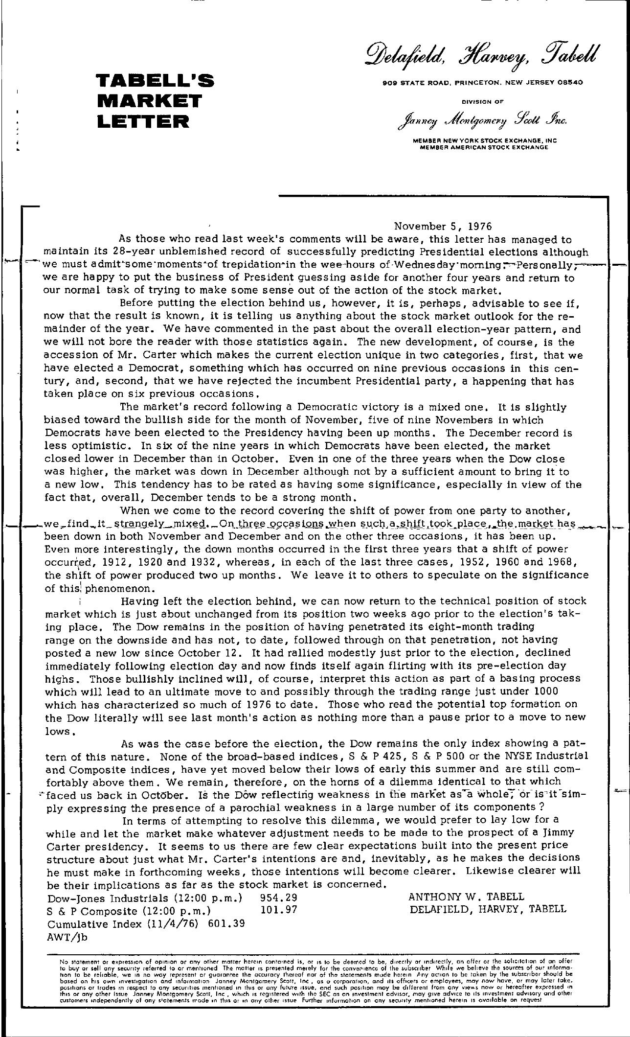 Tabell's Market Letter - November 05, 1976