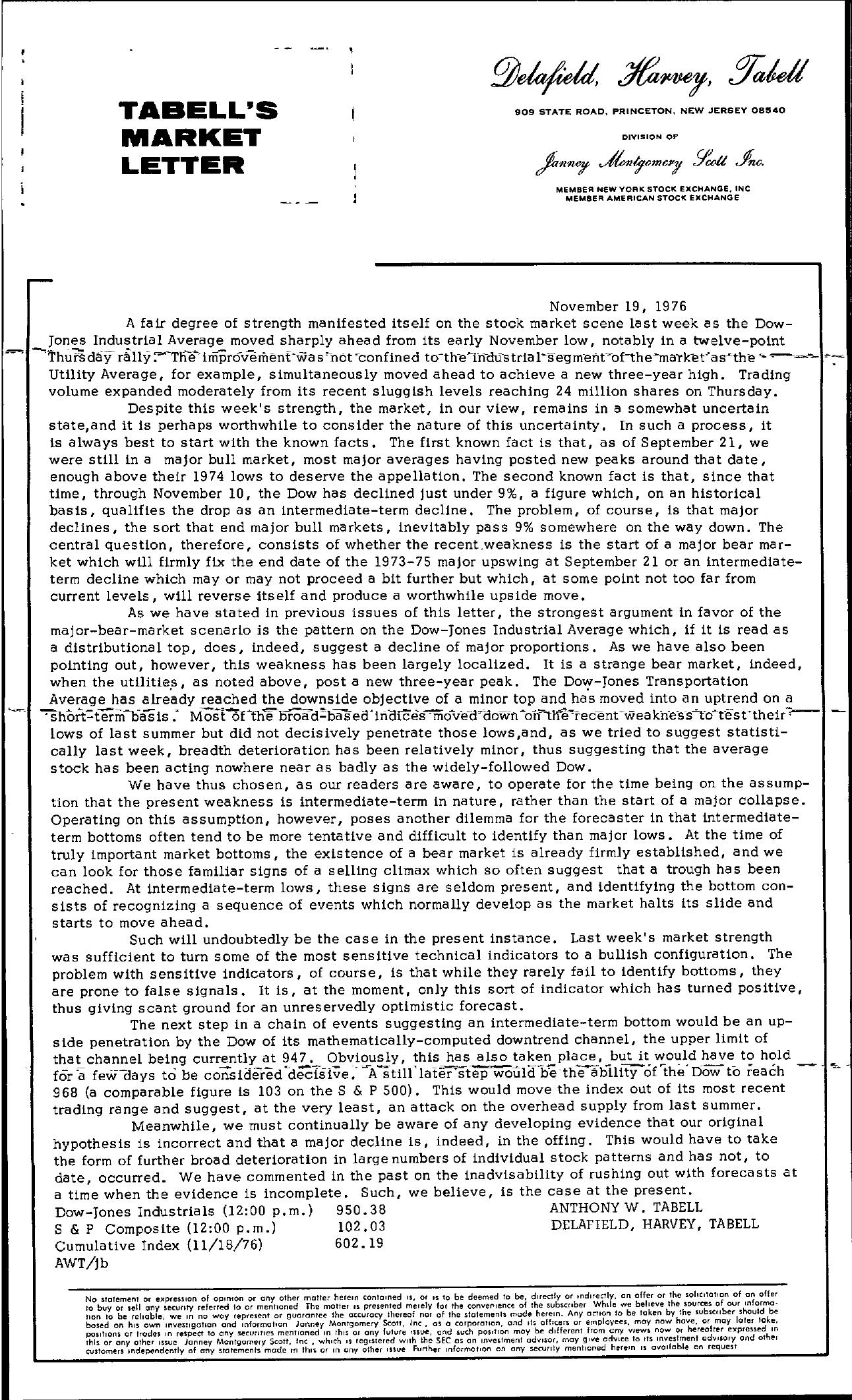 Tabell's Market Letter - November 19, 1976