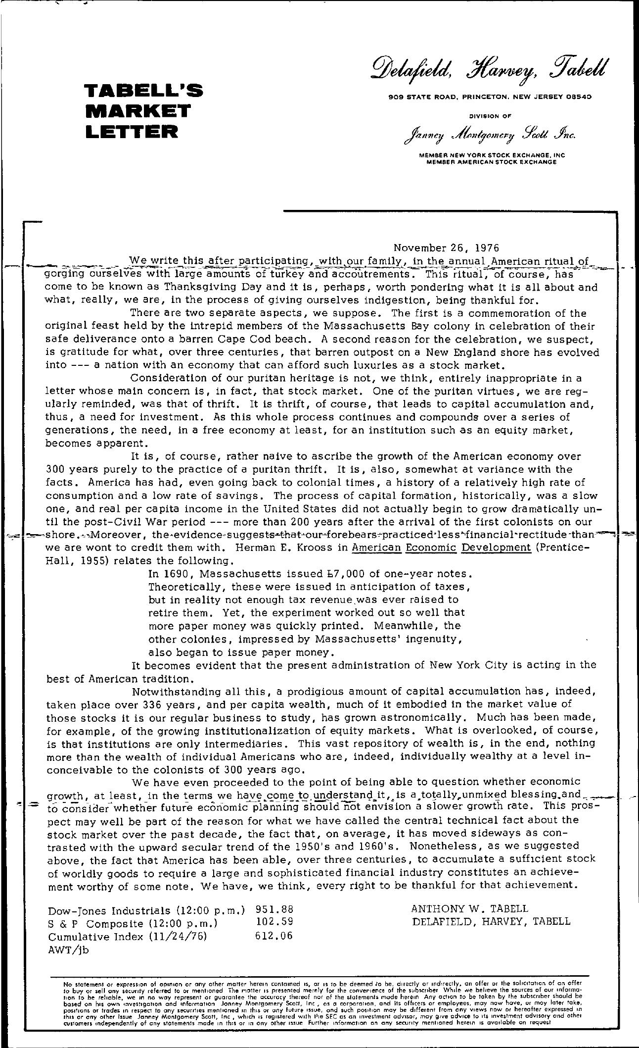 Tabell's Market Letter - November 26, 1976