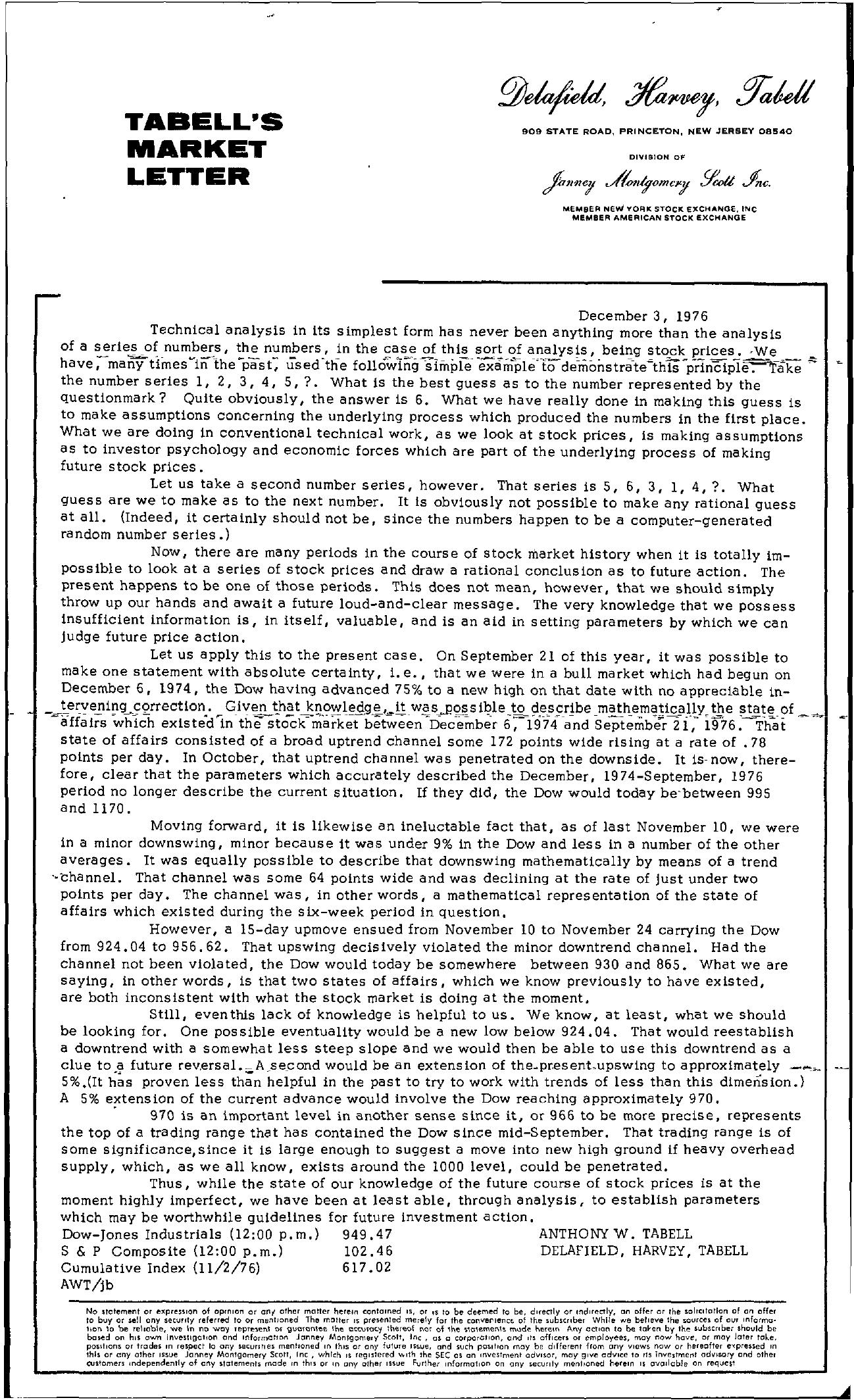Tabell's Market Letter - December 03, 1976