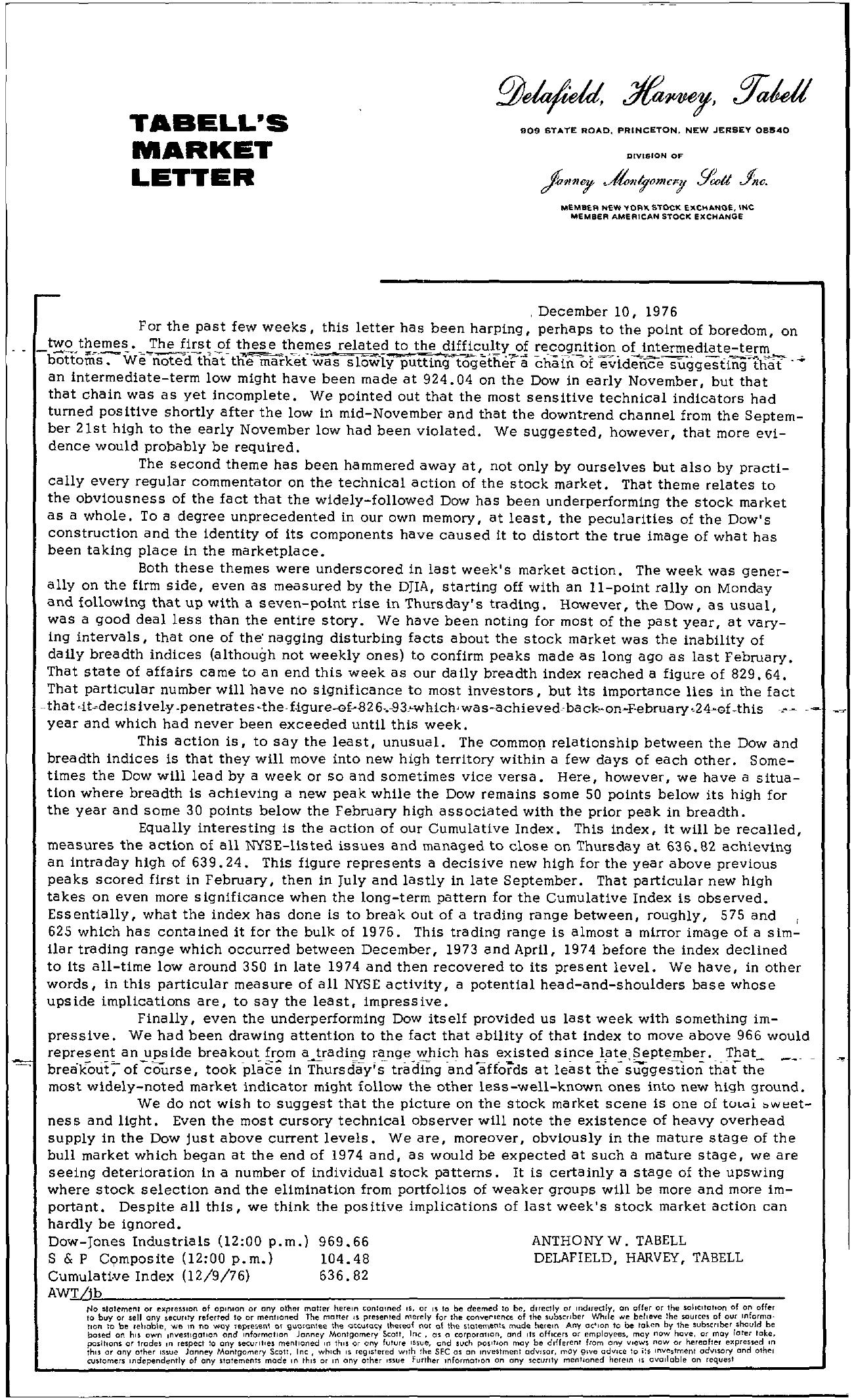 Tabell's Market Letter - December 10, 1976