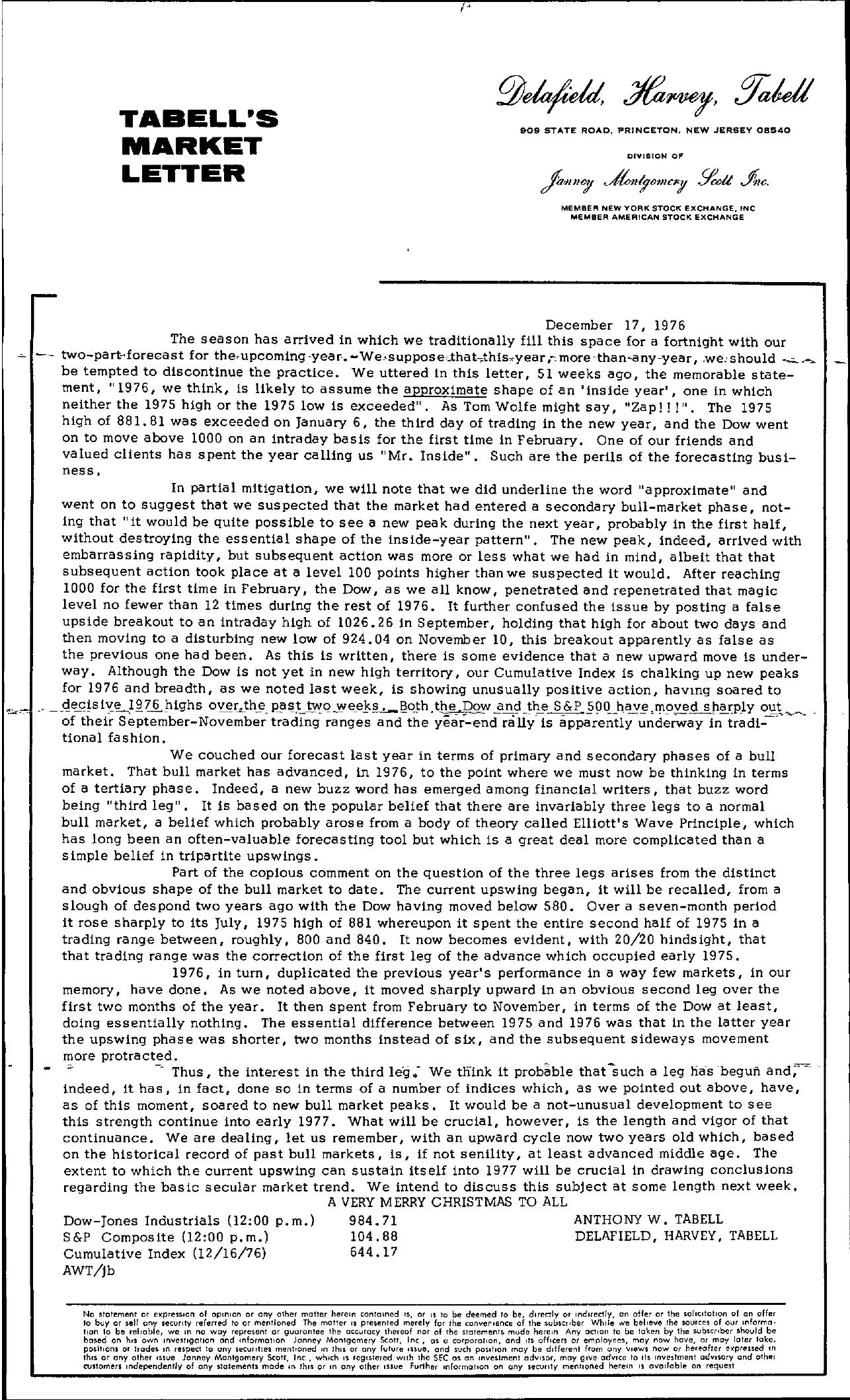 Tabell's Market Letter - December 17, 1976