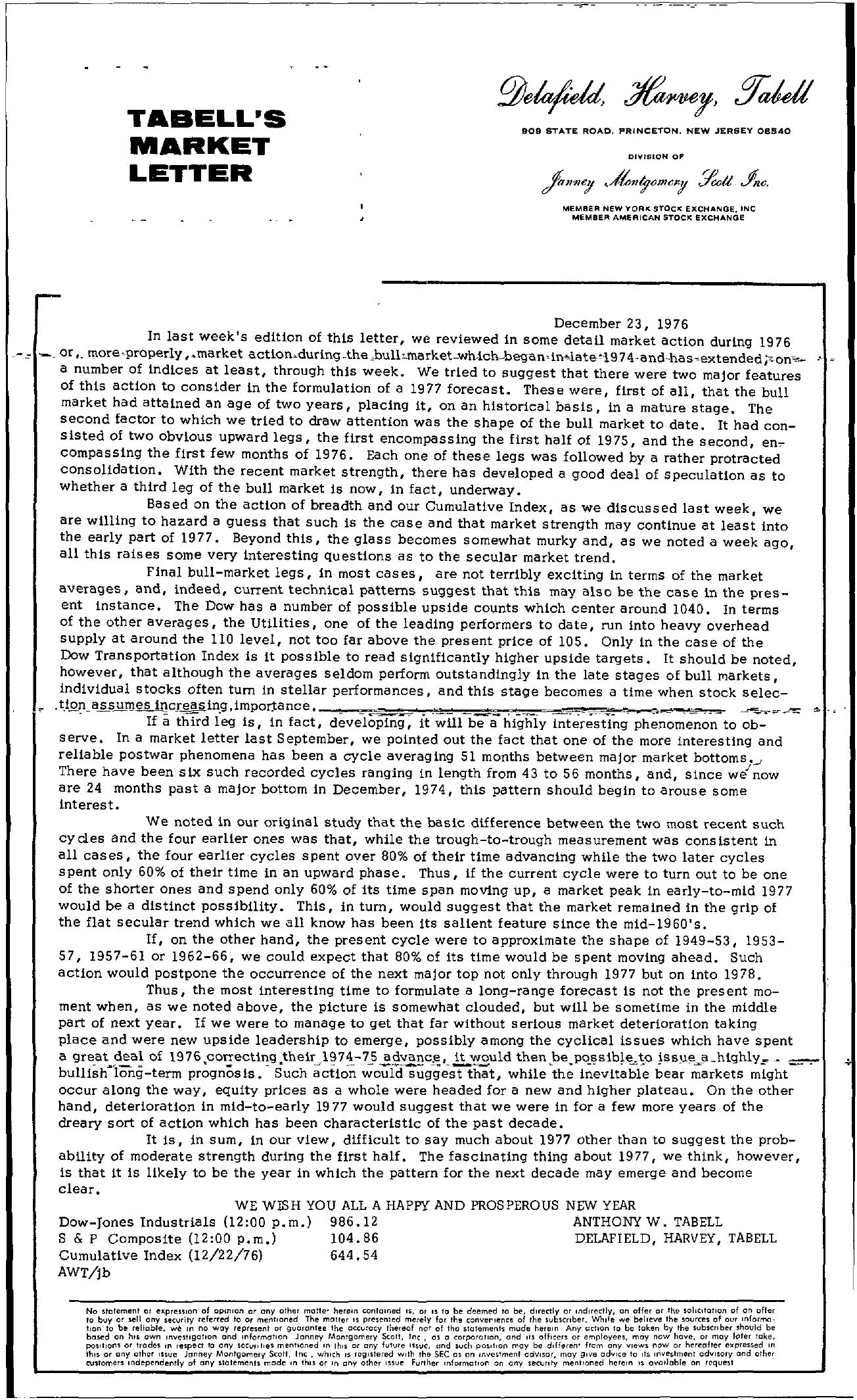 Tabell's Market Letter - December 23, 1976