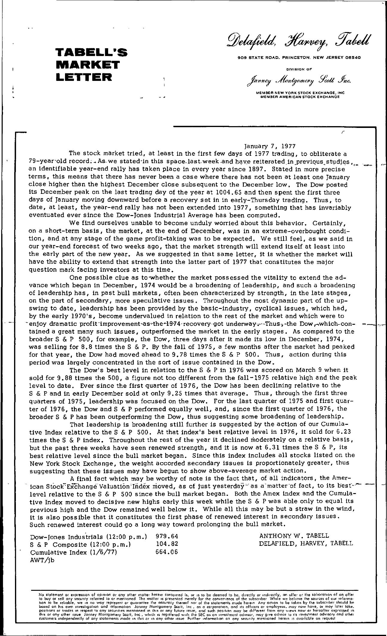 Tabell's Market Letter - January 07, 1977