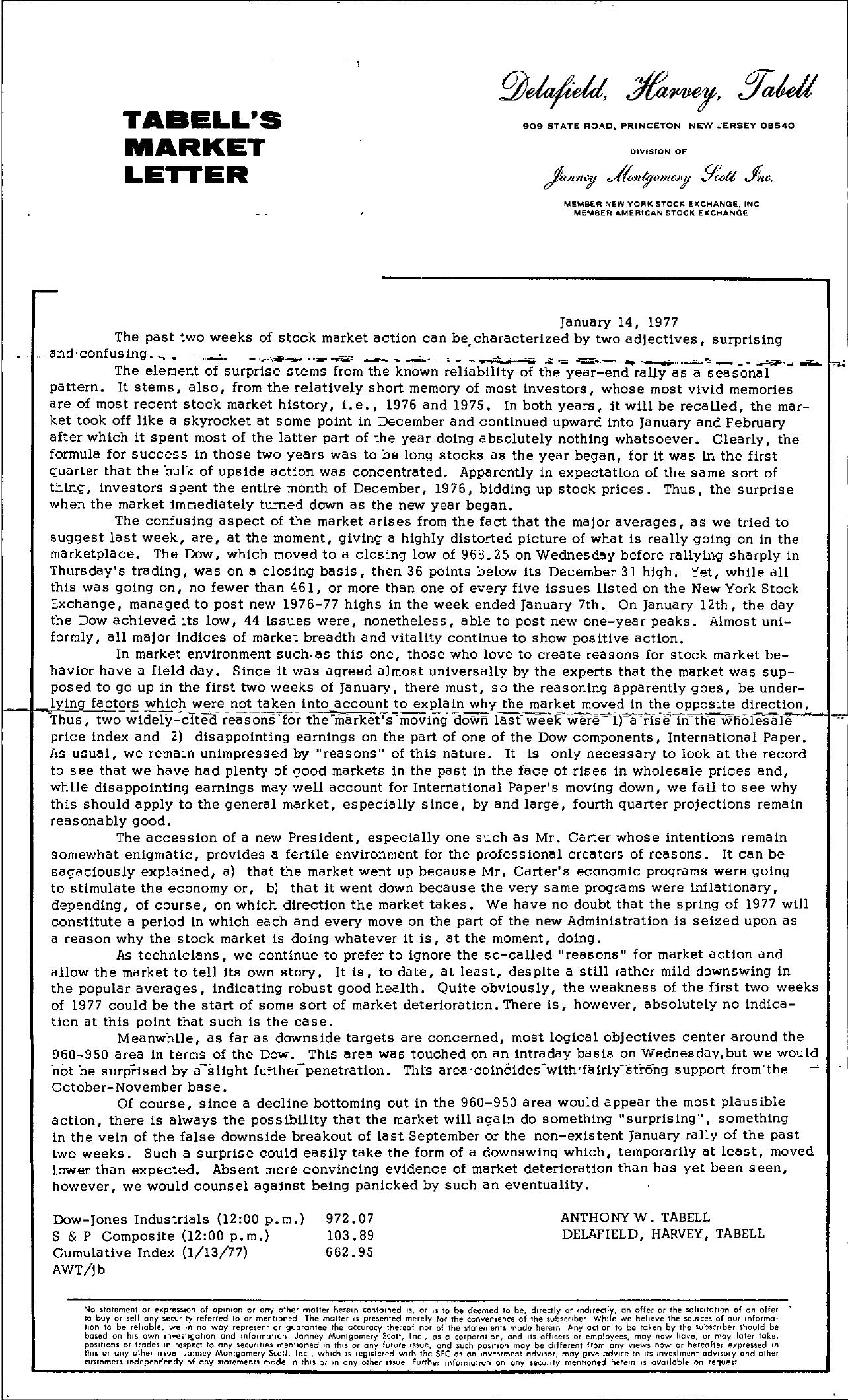 Tabell's Market Letter - January 14, 1977