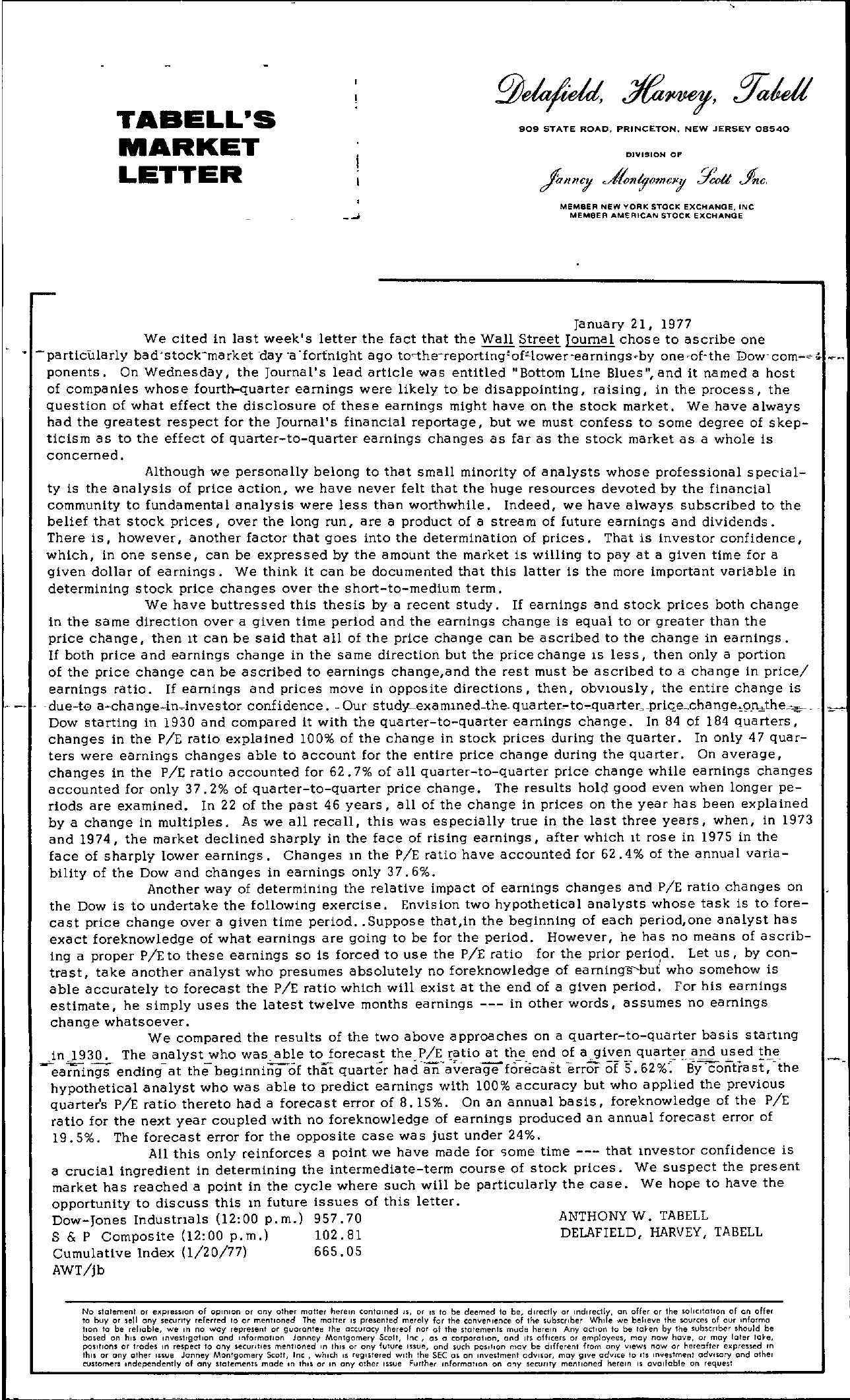 Tabell's Market Letter - January 21, 1977