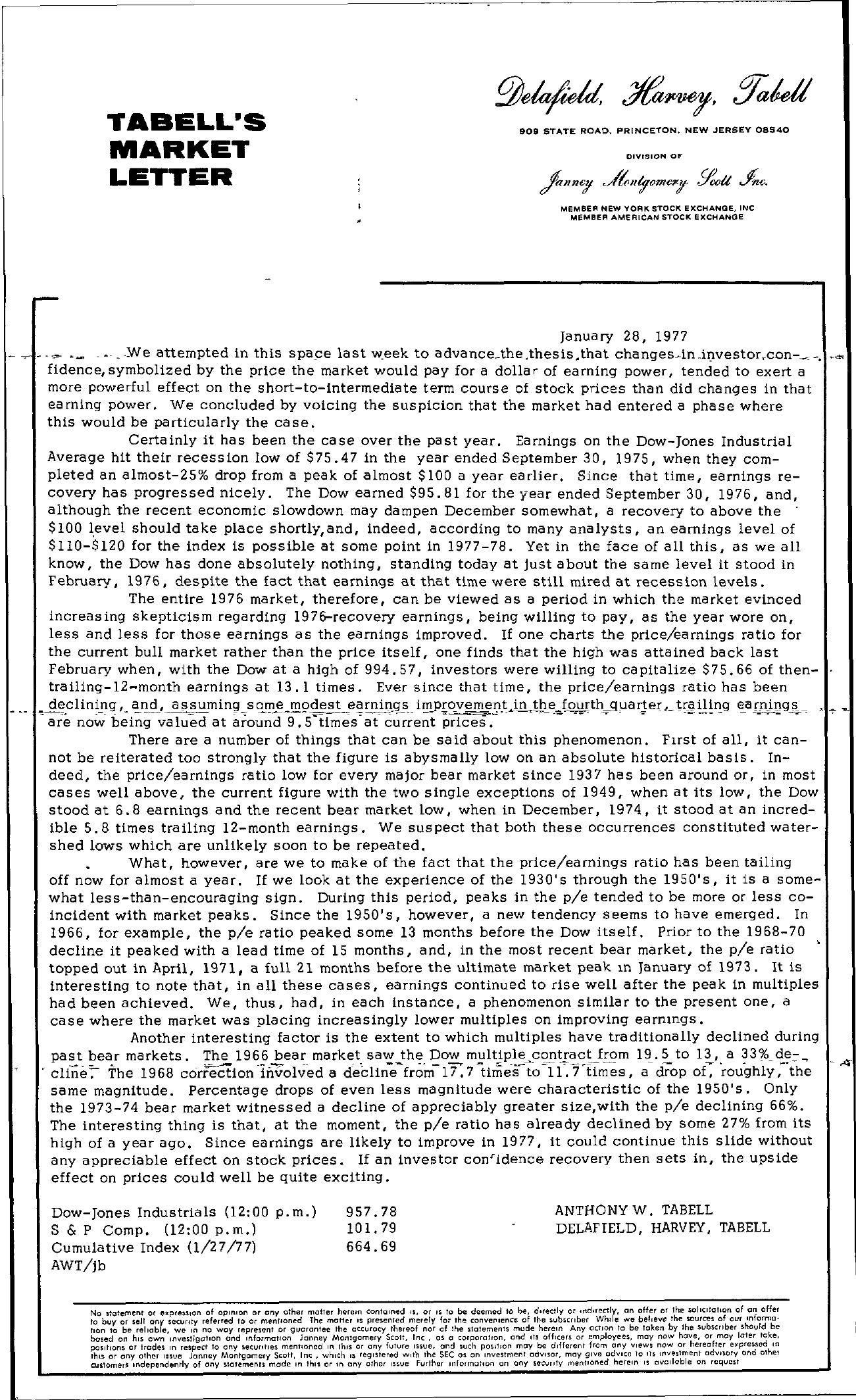 Tabell's Market Letter - January 28, 1977