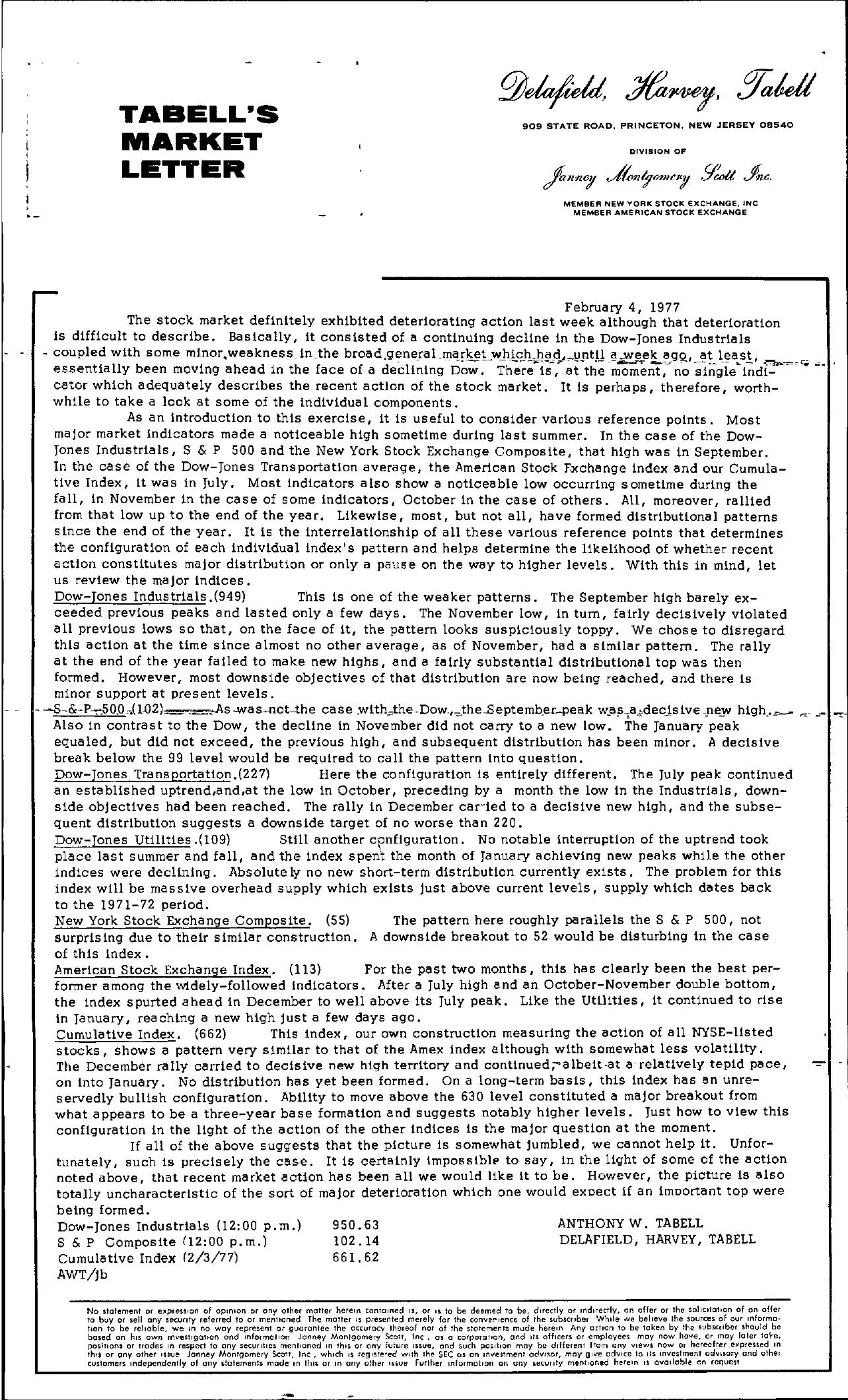 Tabell's Market Letter - February 04, 1977