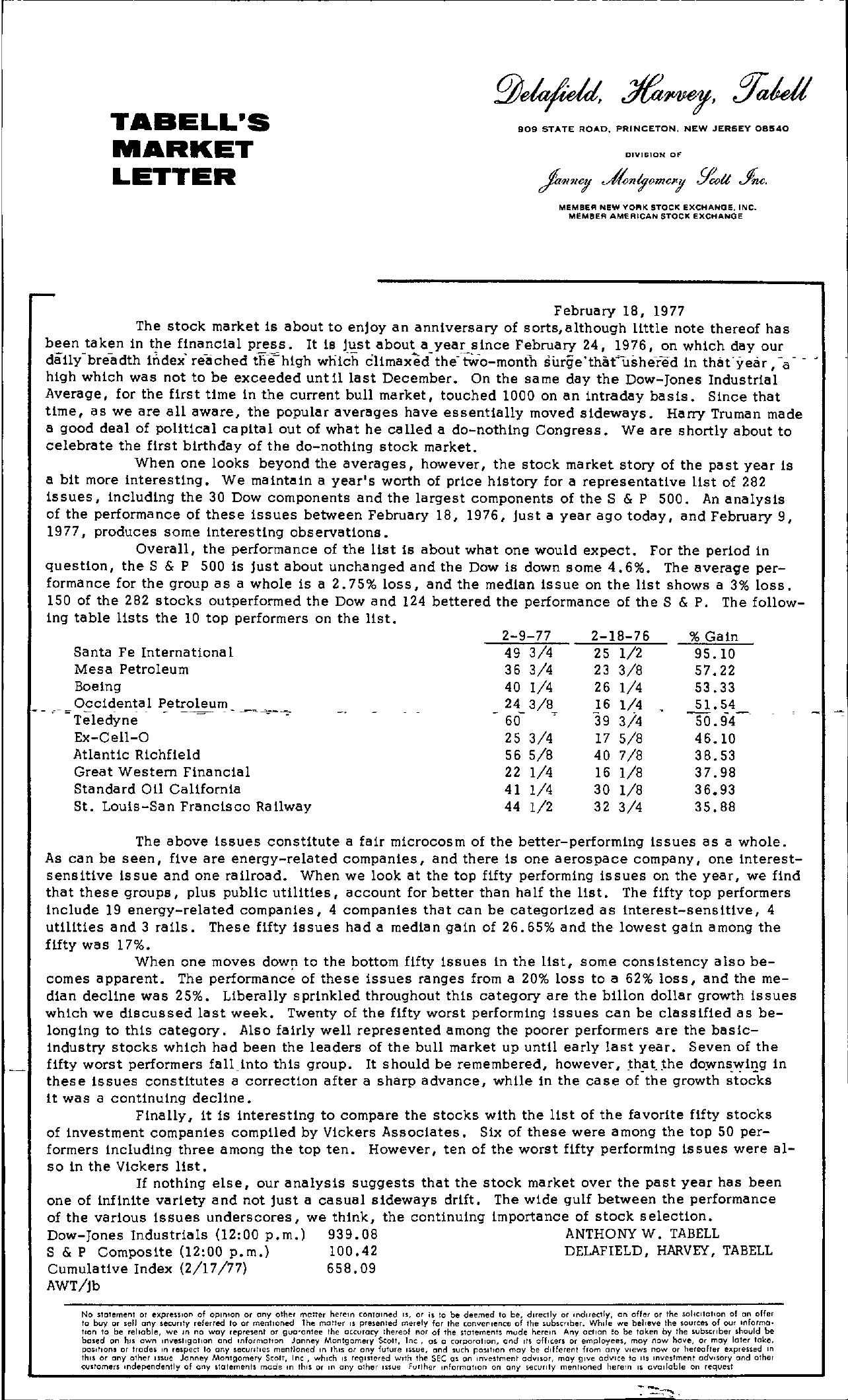 Tabell's Market Letter - February 18, 1977