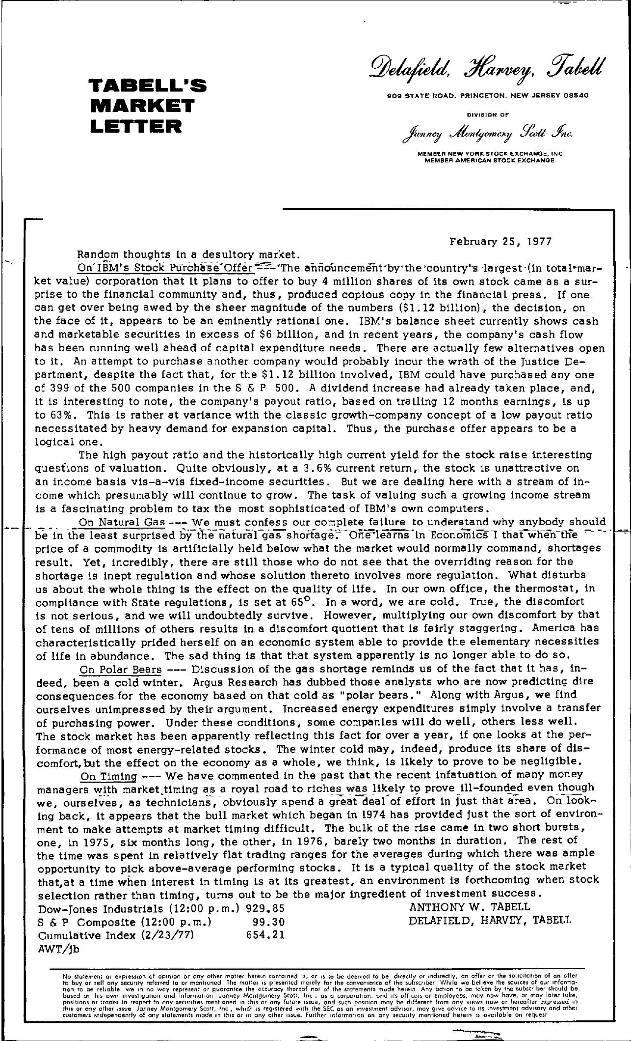 Tabell's Market Letter - February 25, 1977