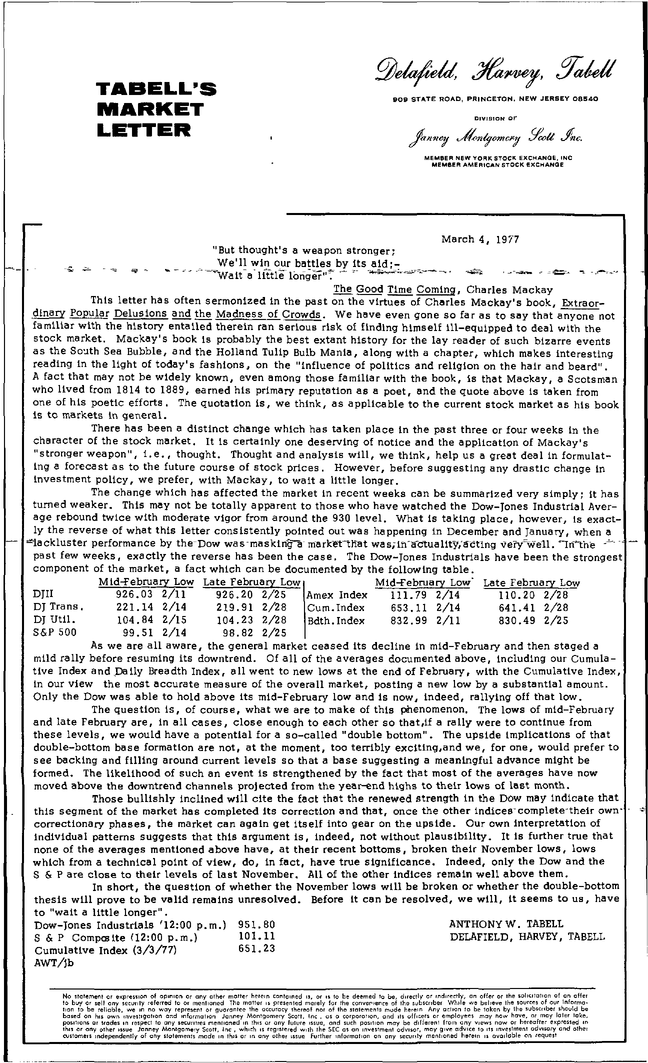Tabell's Market Letter - March 04, 1977