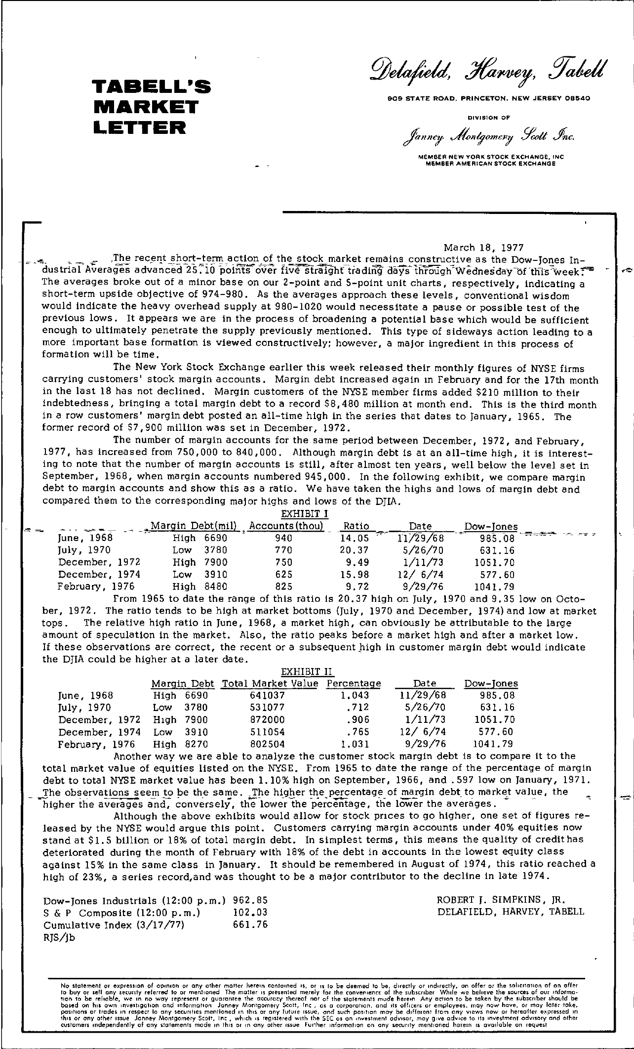 Tabell's Market Letter - March 18, 1977