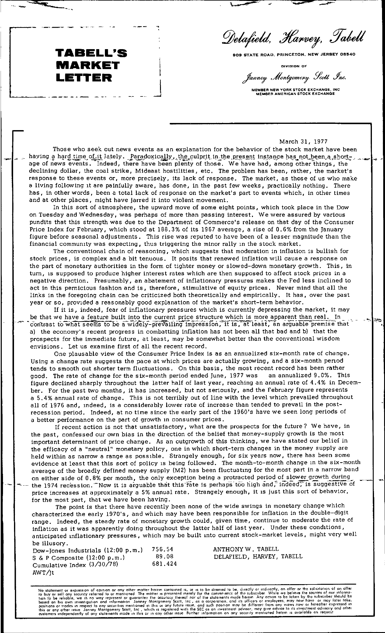Tabell's Market Letter - March 31, 1977