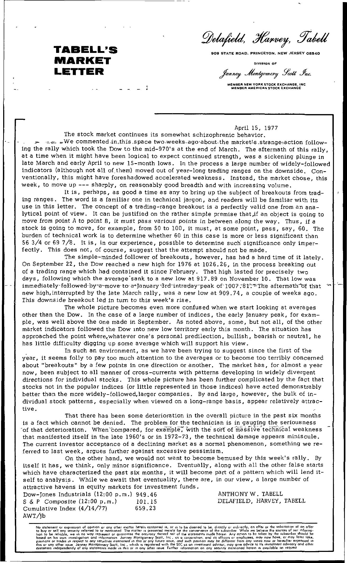 Tabell's Market Letter - April 15, 1977