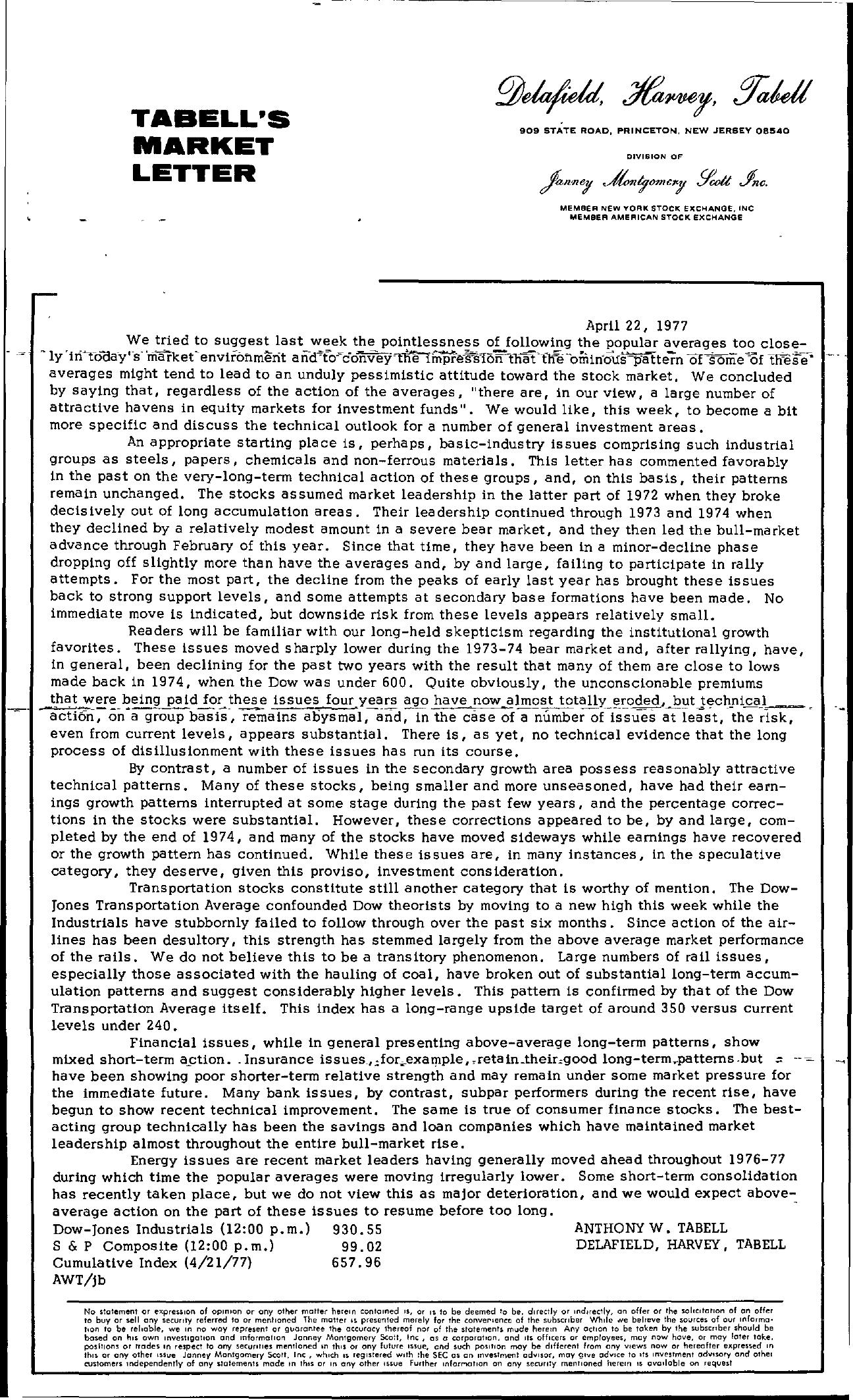 Tabell's Market Letter - April 22, 1977