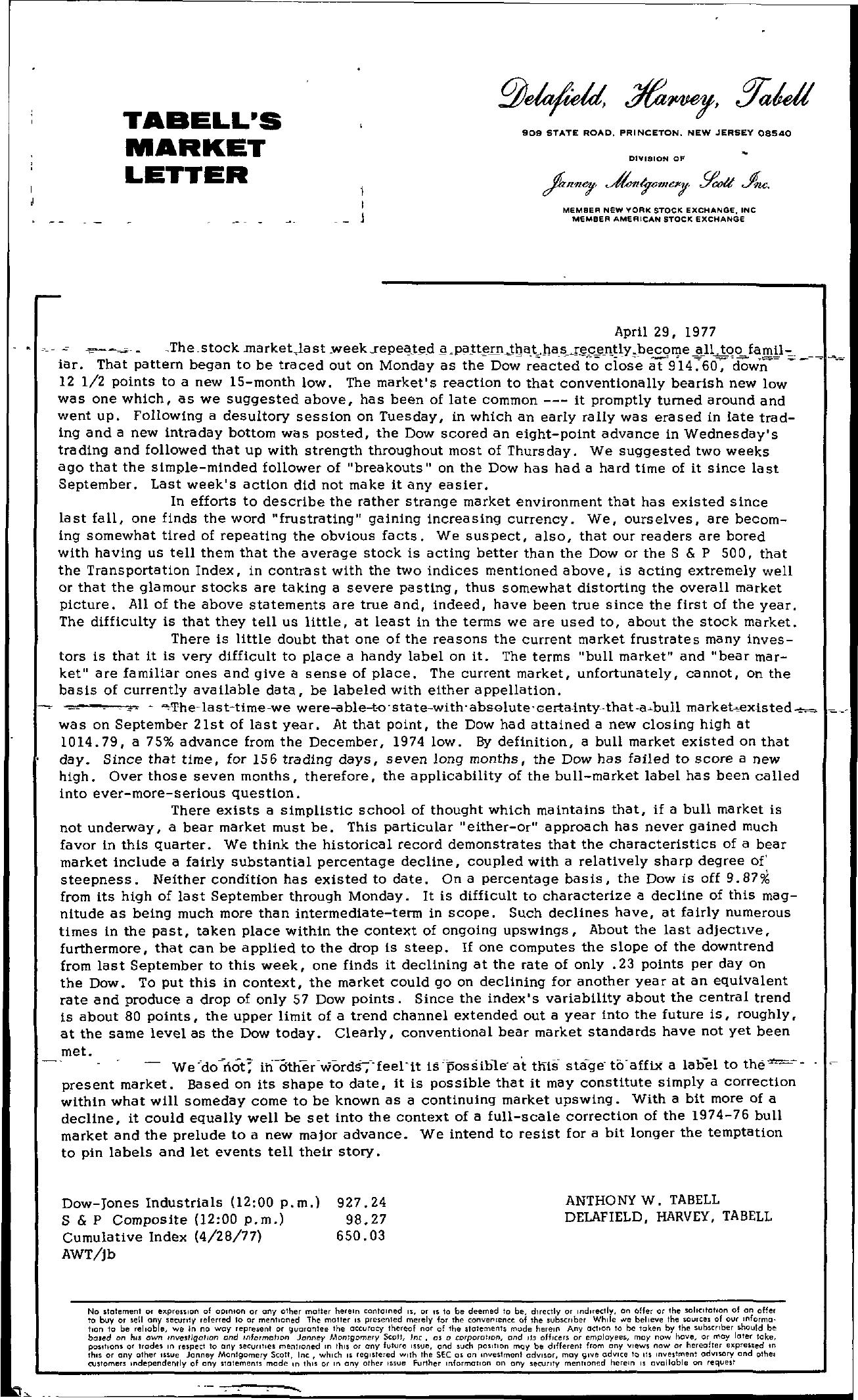 Tabell's Market Letter - April 29, 1977