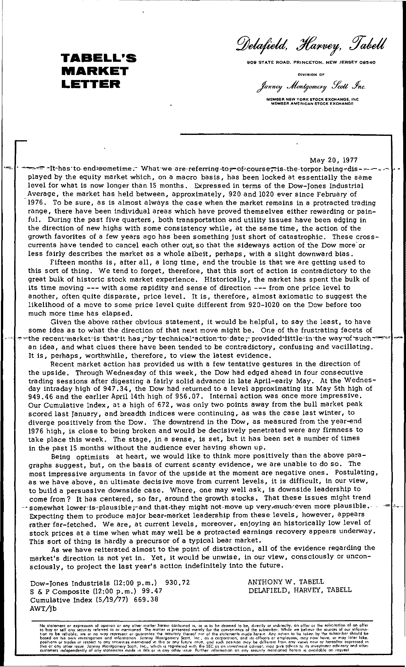 Tabell's Market Letter - May 20, 1977