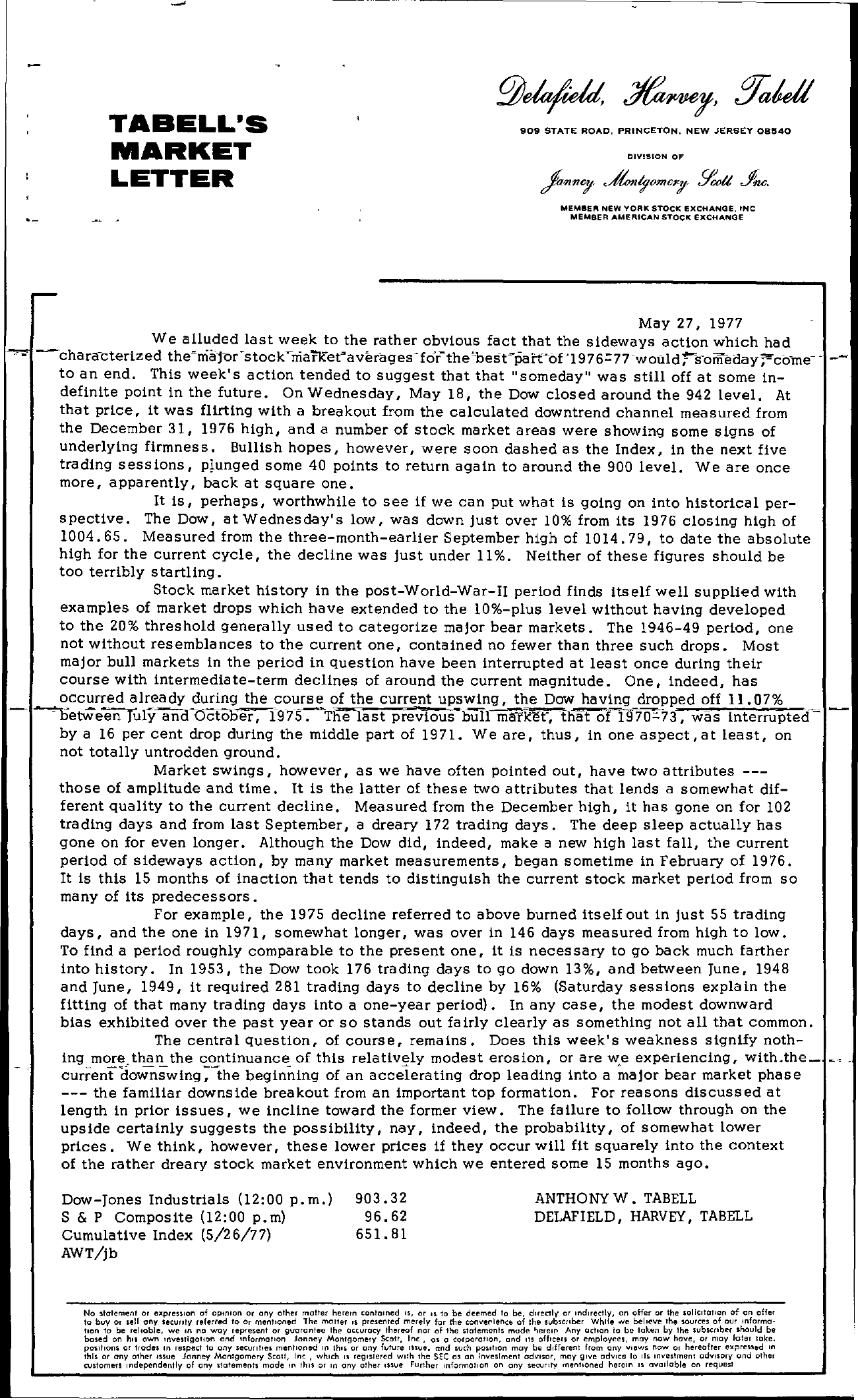 Tabell's Market Letter - May 27, 1977