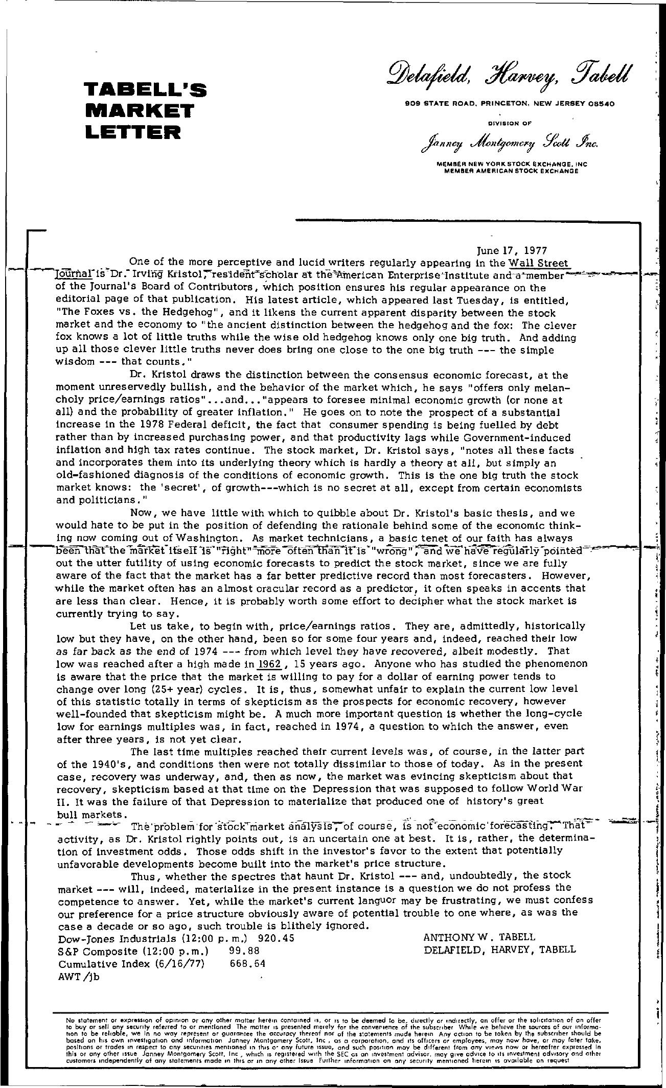 Tabell's Market Letter - June 17, 1977