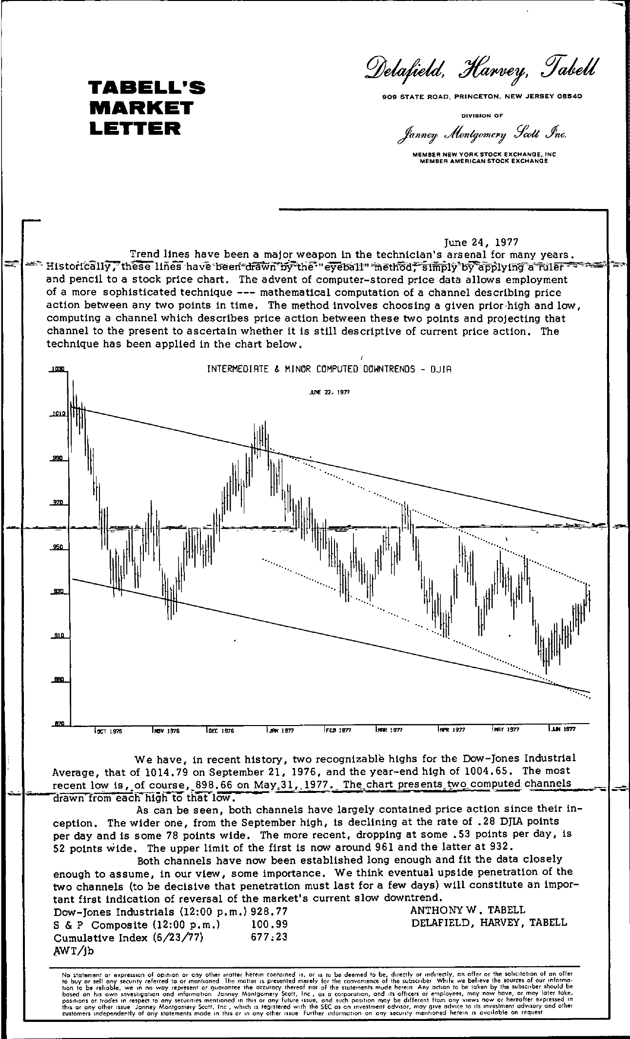 Tabell's Market Letter - June 24, 1977