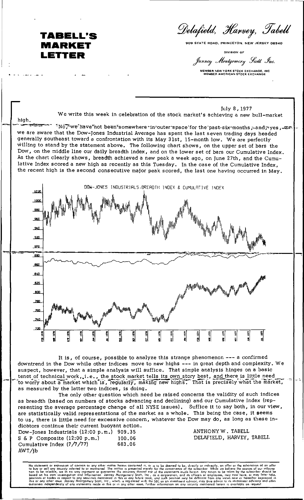 Tabell's Market Letter - July 08, 1977