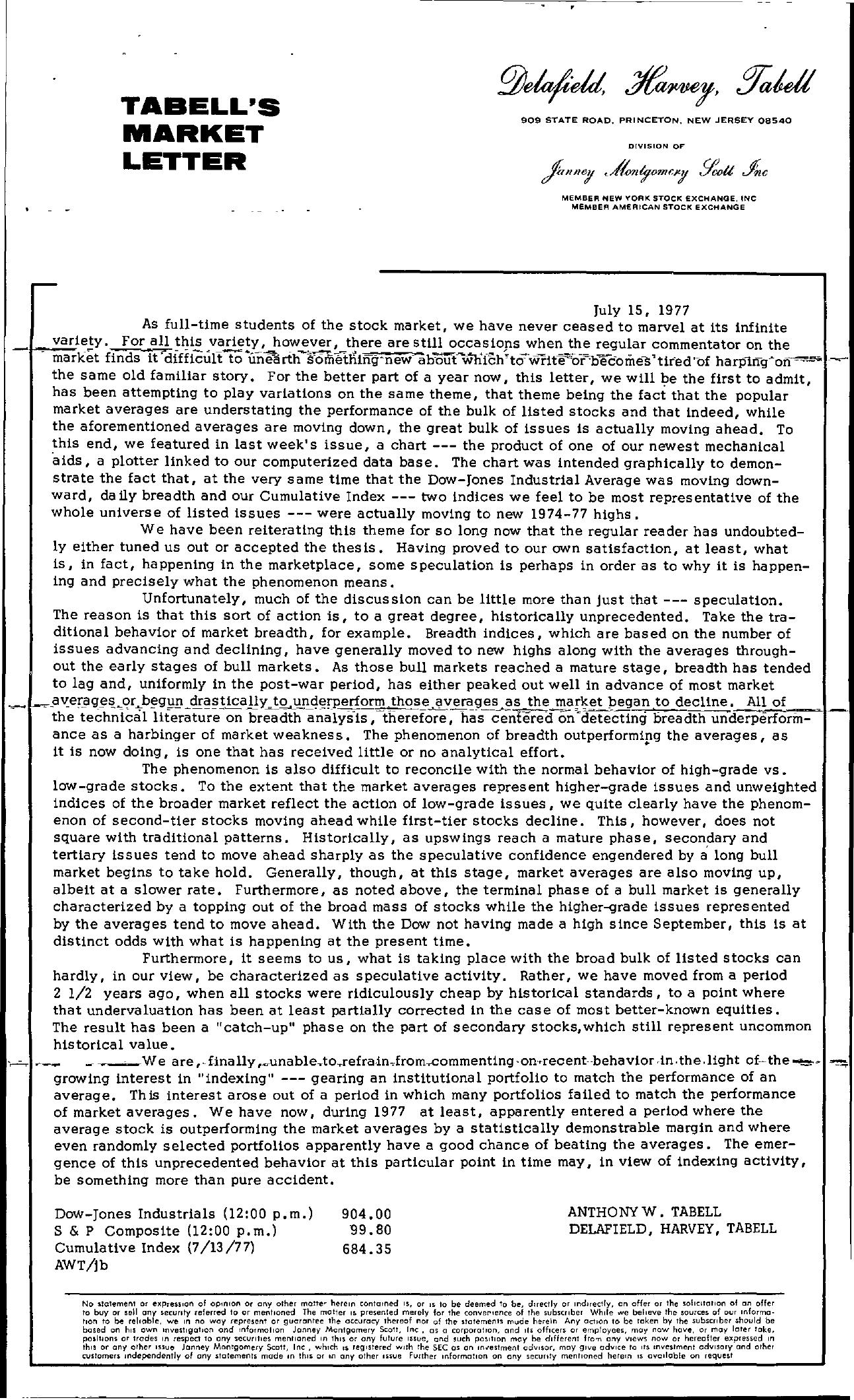 Tabell's Market Letter - July 15, 1977