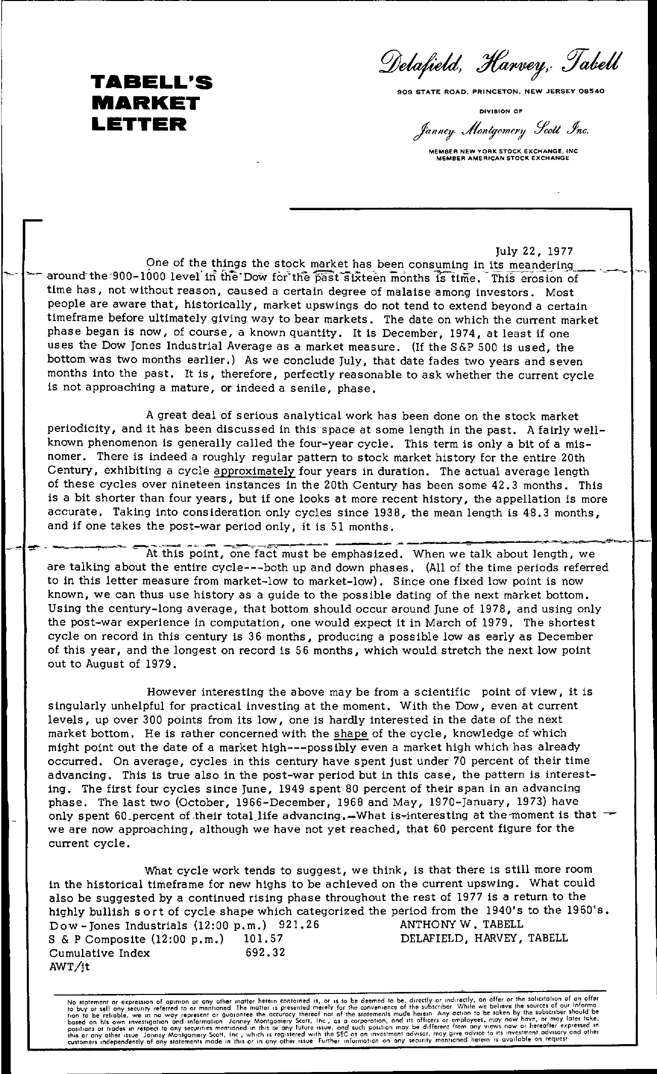 Tabell's Market Letter - July 22, 1977