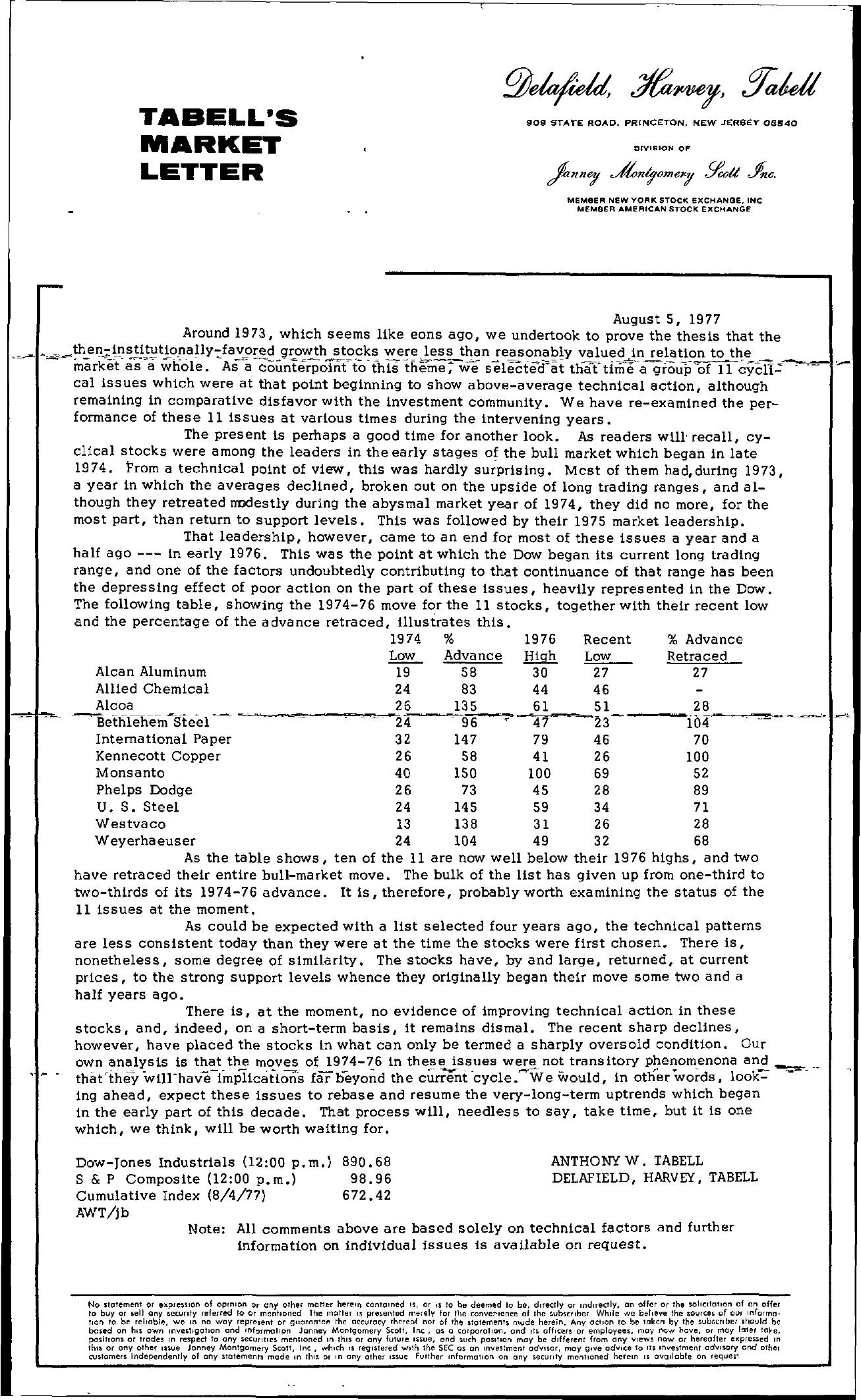 Tabell's Market Letter - August 05, 1977