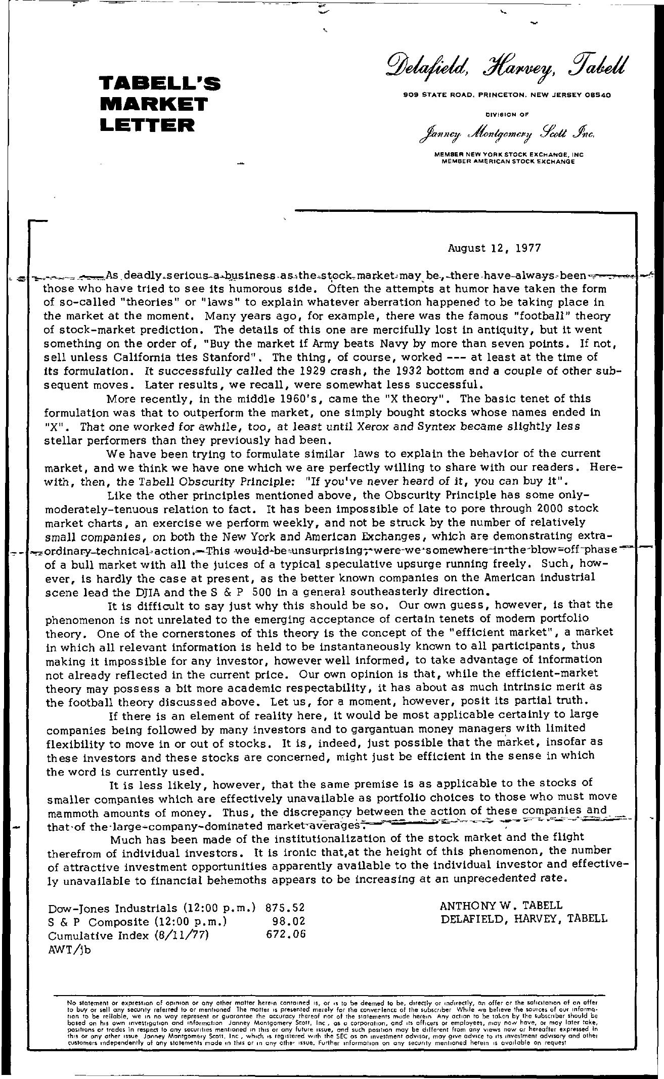 Tabell's Market Letter - August 12, 1977